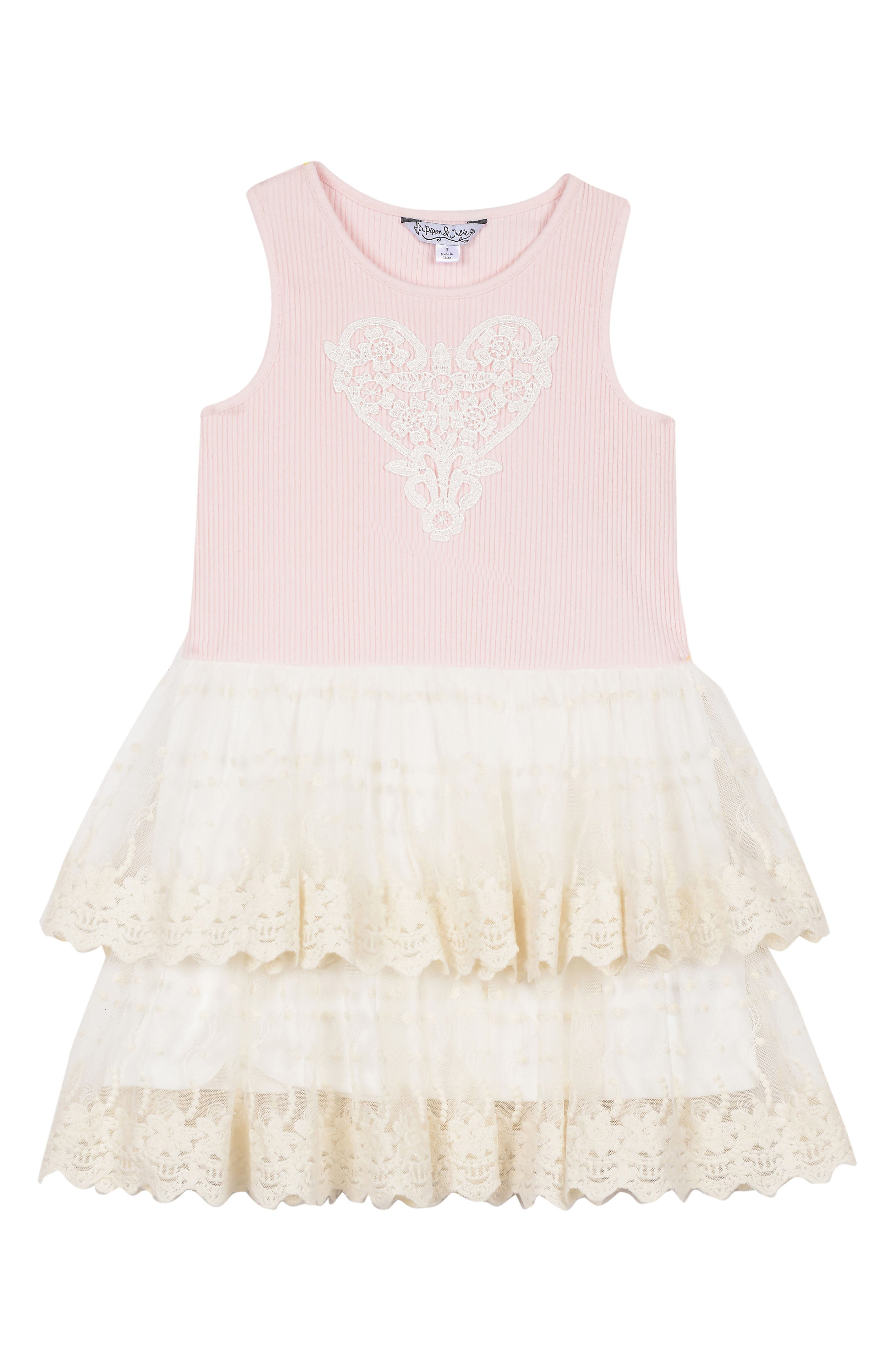 Tiered Dress,                         Main,                         color, PINK
