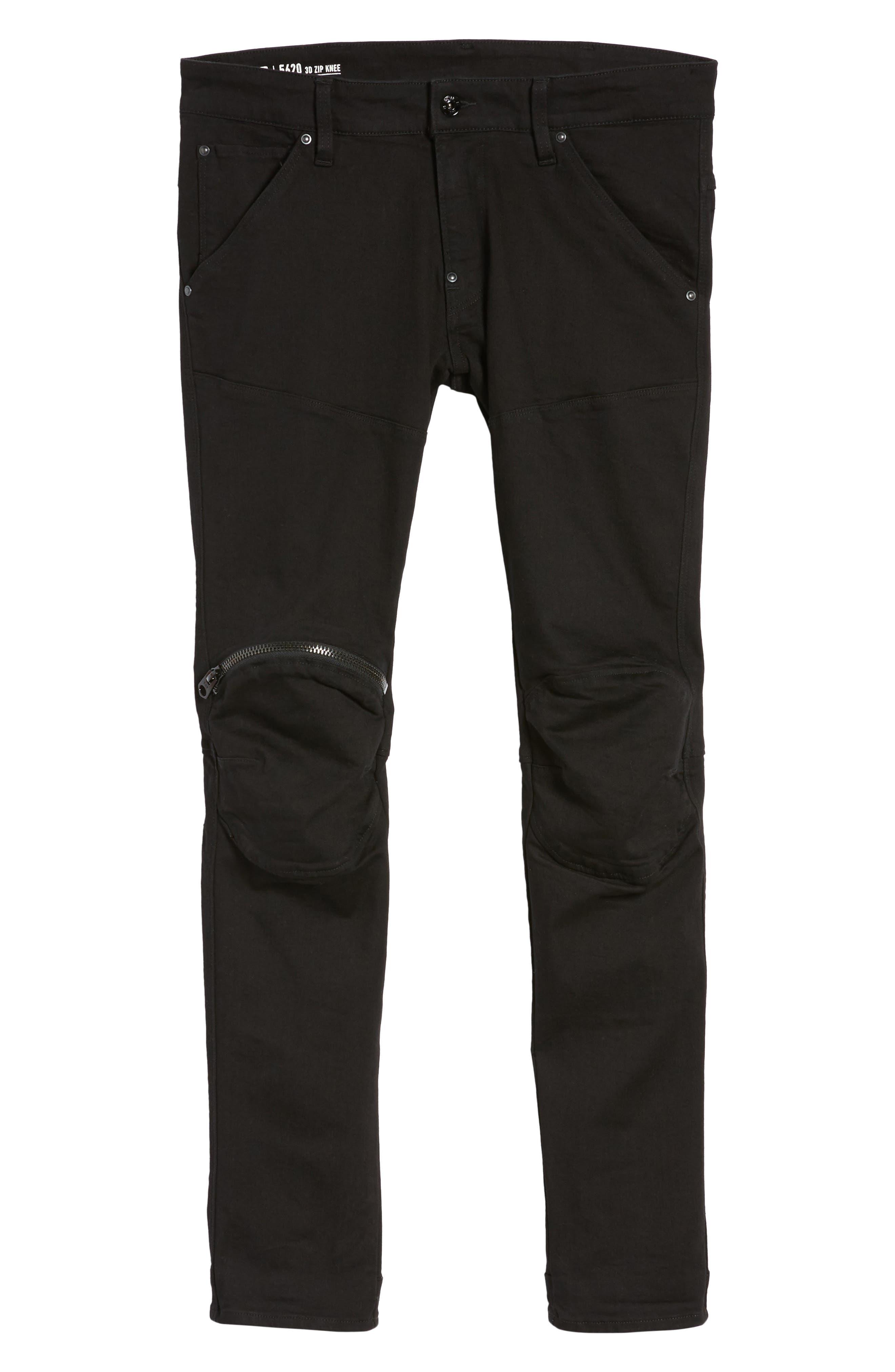 3D Zip Knee Super Slim Pants,                             Alternate thumbnail 6, color,                             001