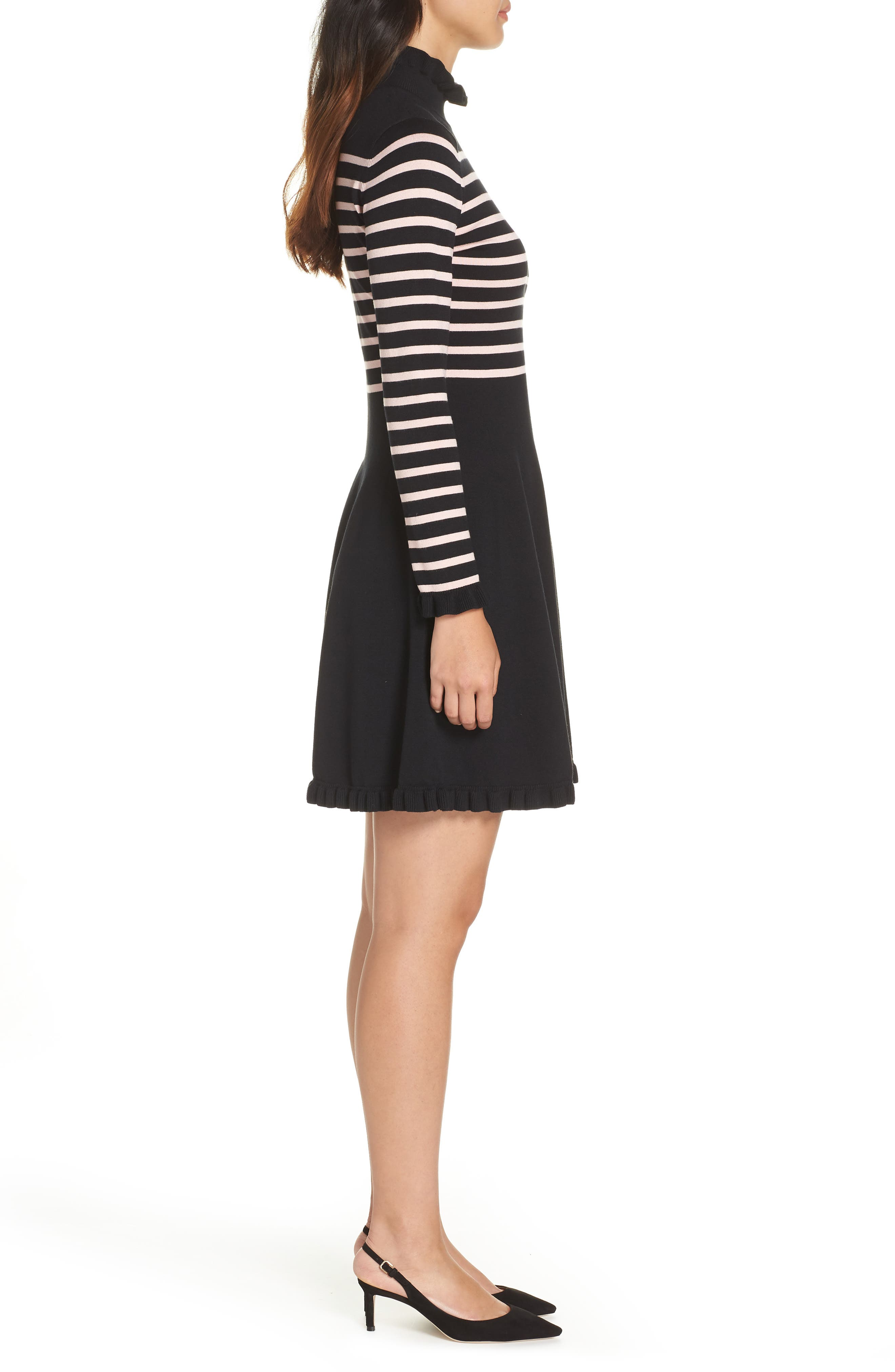 1901,                             Mock Neck Stripe Sweater Dress,                             Alternate thumbnail 3, color,                             BLACK- PINK STRIPE