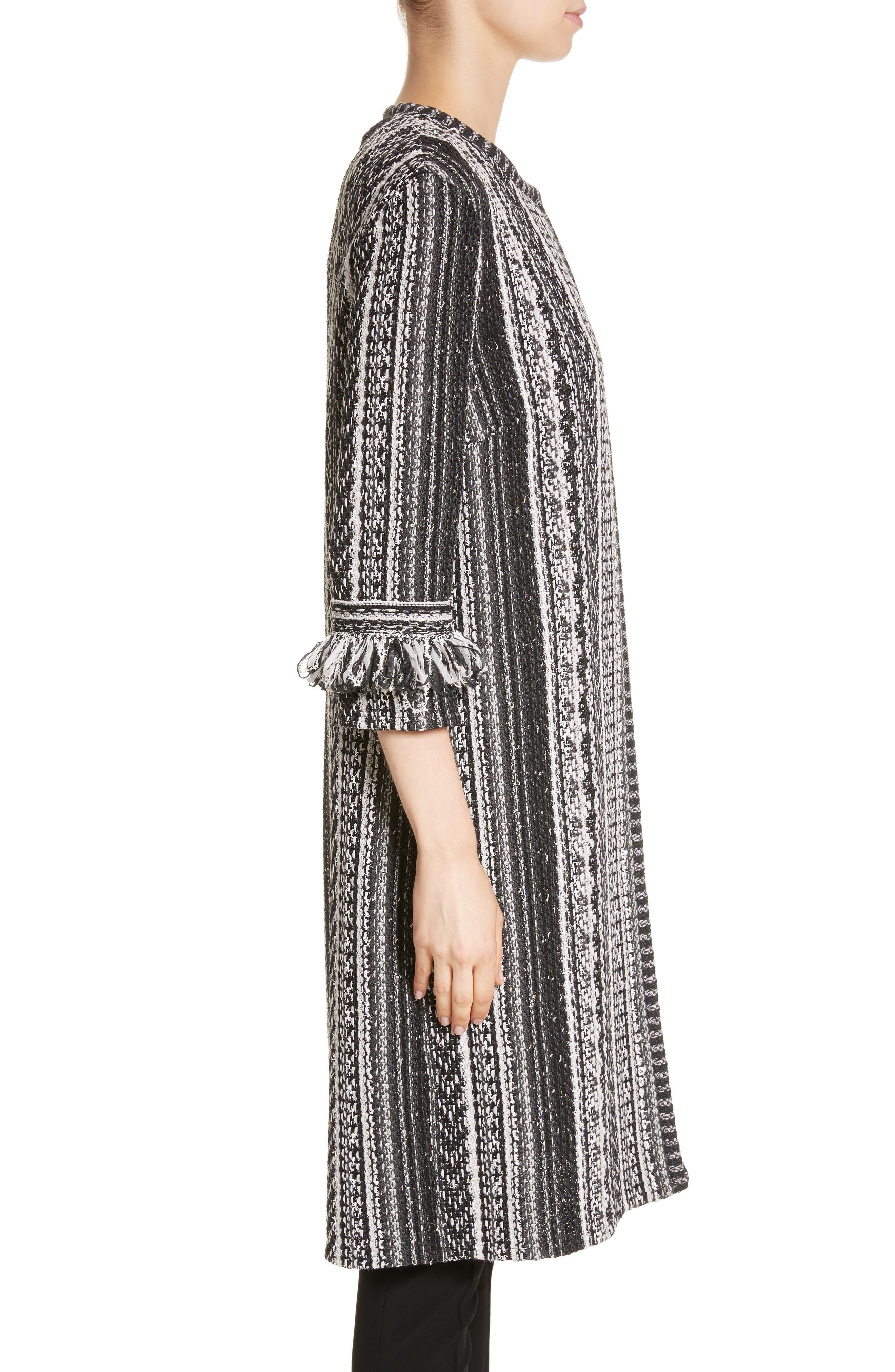 Fringe Ombré Stripe Tweed Knit Jacket,                             Alternate thumbnail 3, color,                             001