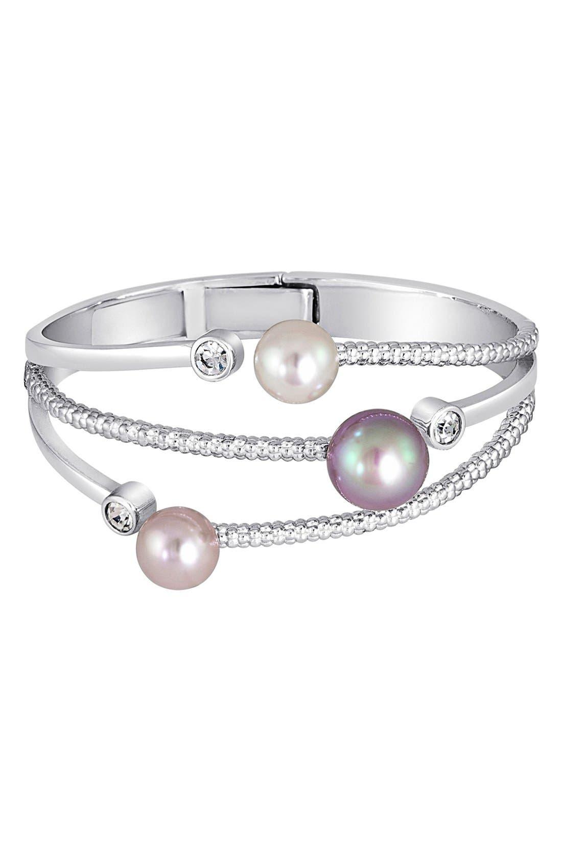 Simulated Pearl & Cubic Zirconia Hinge Bracelet,                         Main,                         color,