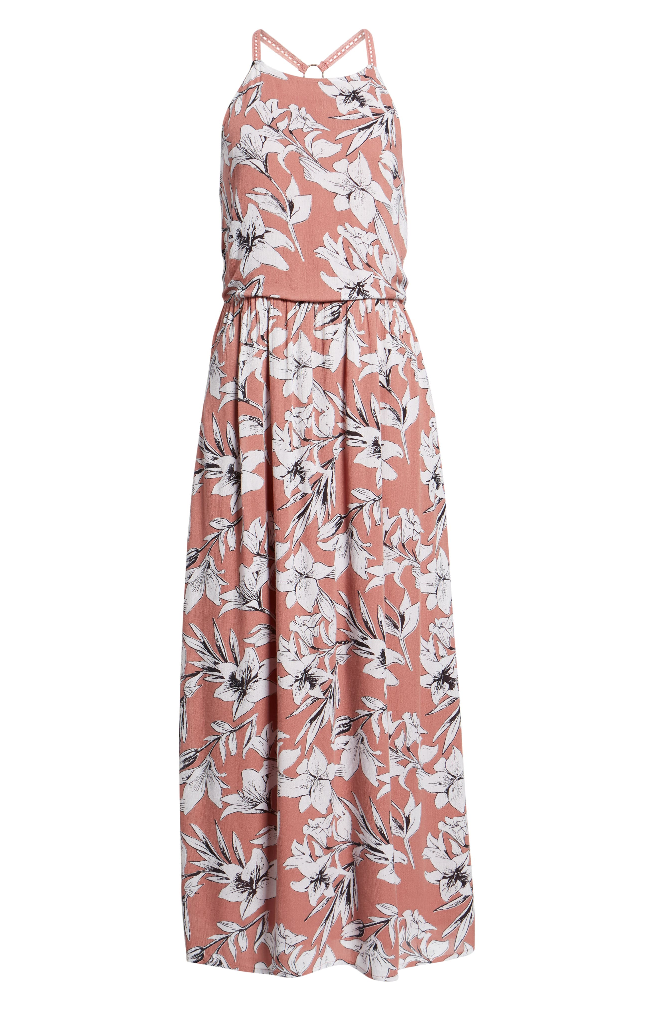 Pavement Border Maxi Dress,                             Alternate thumbnail 7, color,                             WITHERED ROSE LILY HOUSE
