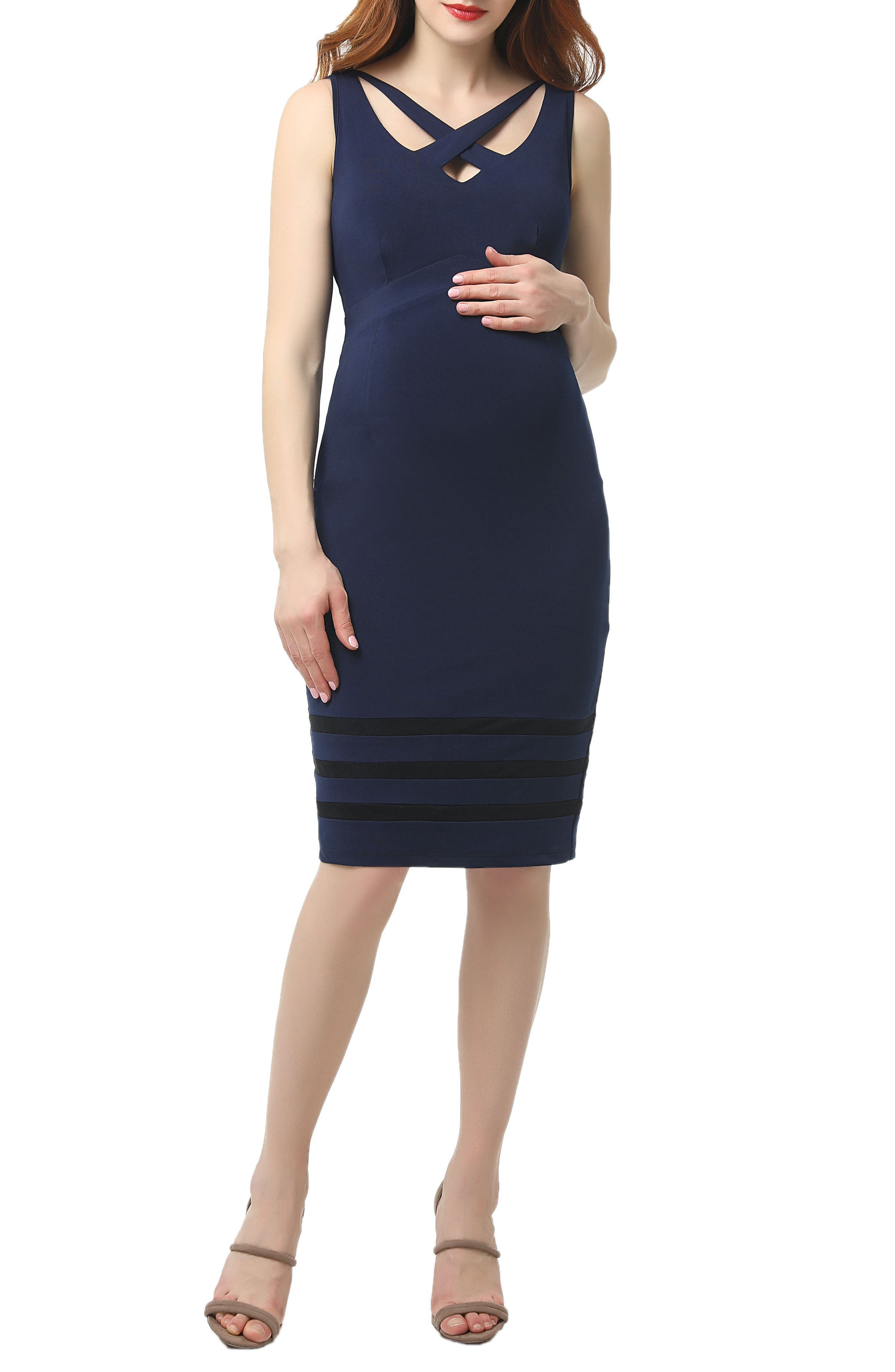 Kimi And Kai Valerie Midi Body-Con Maternity Dress, Blue