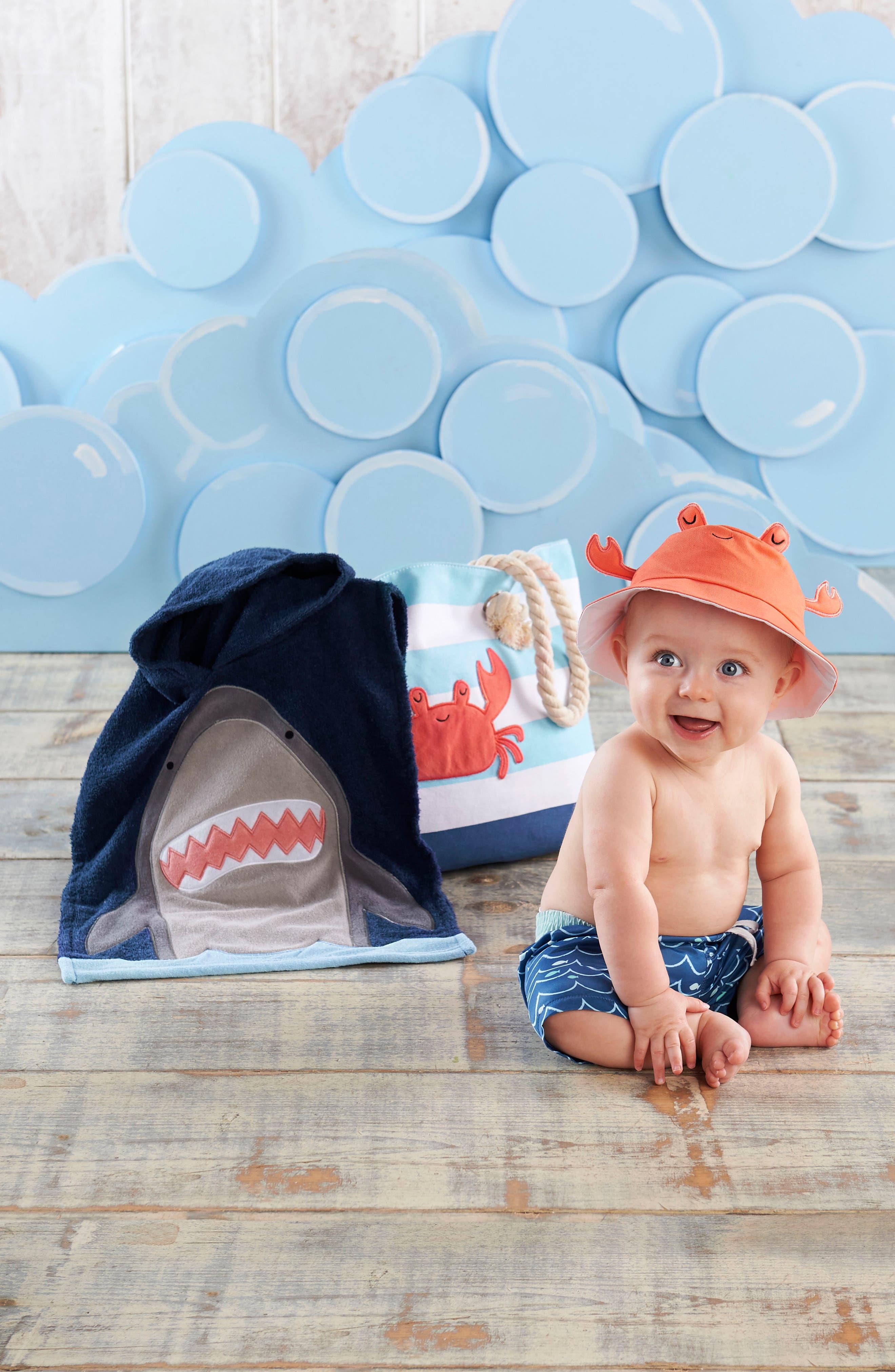BABY ASPEN,                             Shark Hooded Towel, Swim Trunks, Sun Hat & Tote Set,                             Alternate thumbnail 4, color,                             BLUE