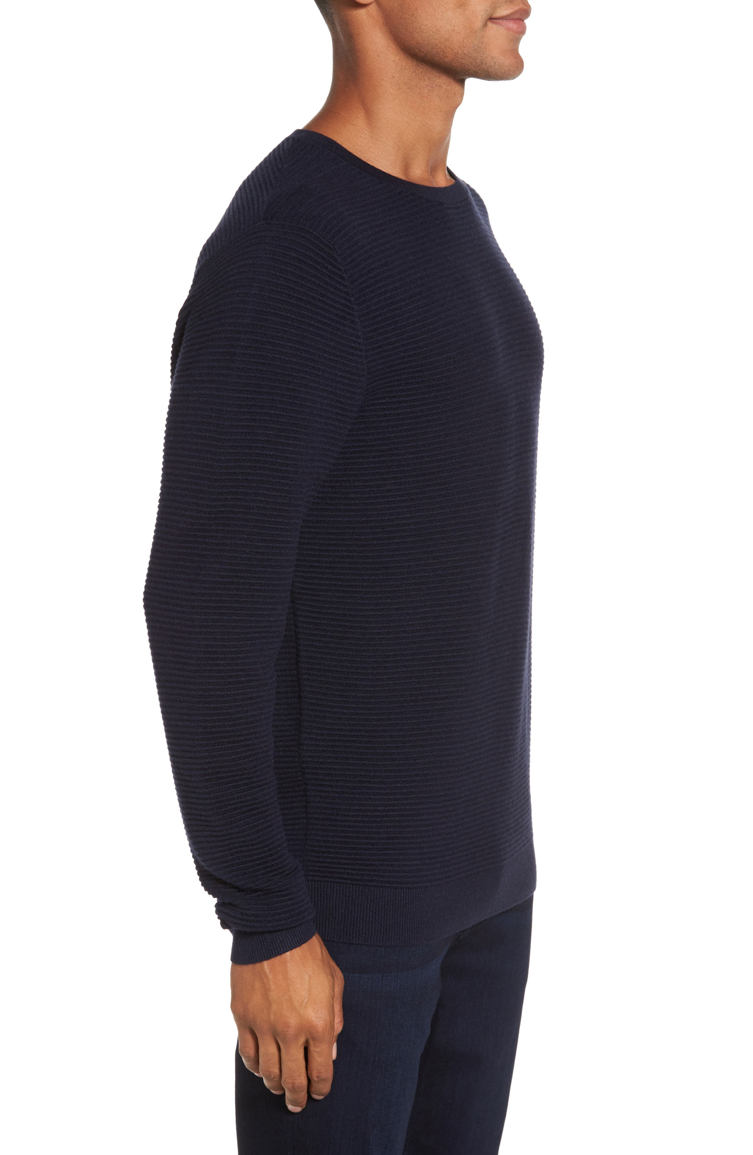 Ottoman Ribbed Crewneck Sweater,                             Alternate thumbnail 8, color,
