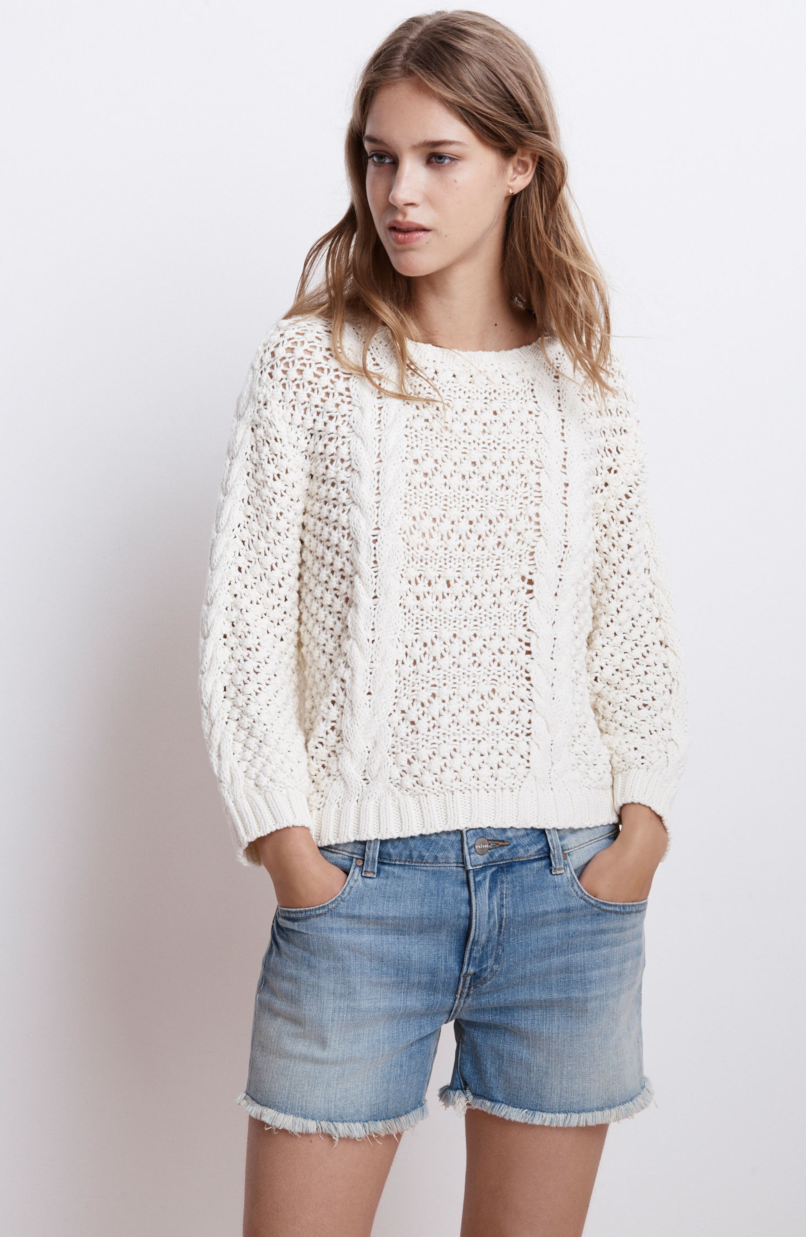 Popcorn Cable Sweater,                             Alternate thumbnail 8, color,                             905