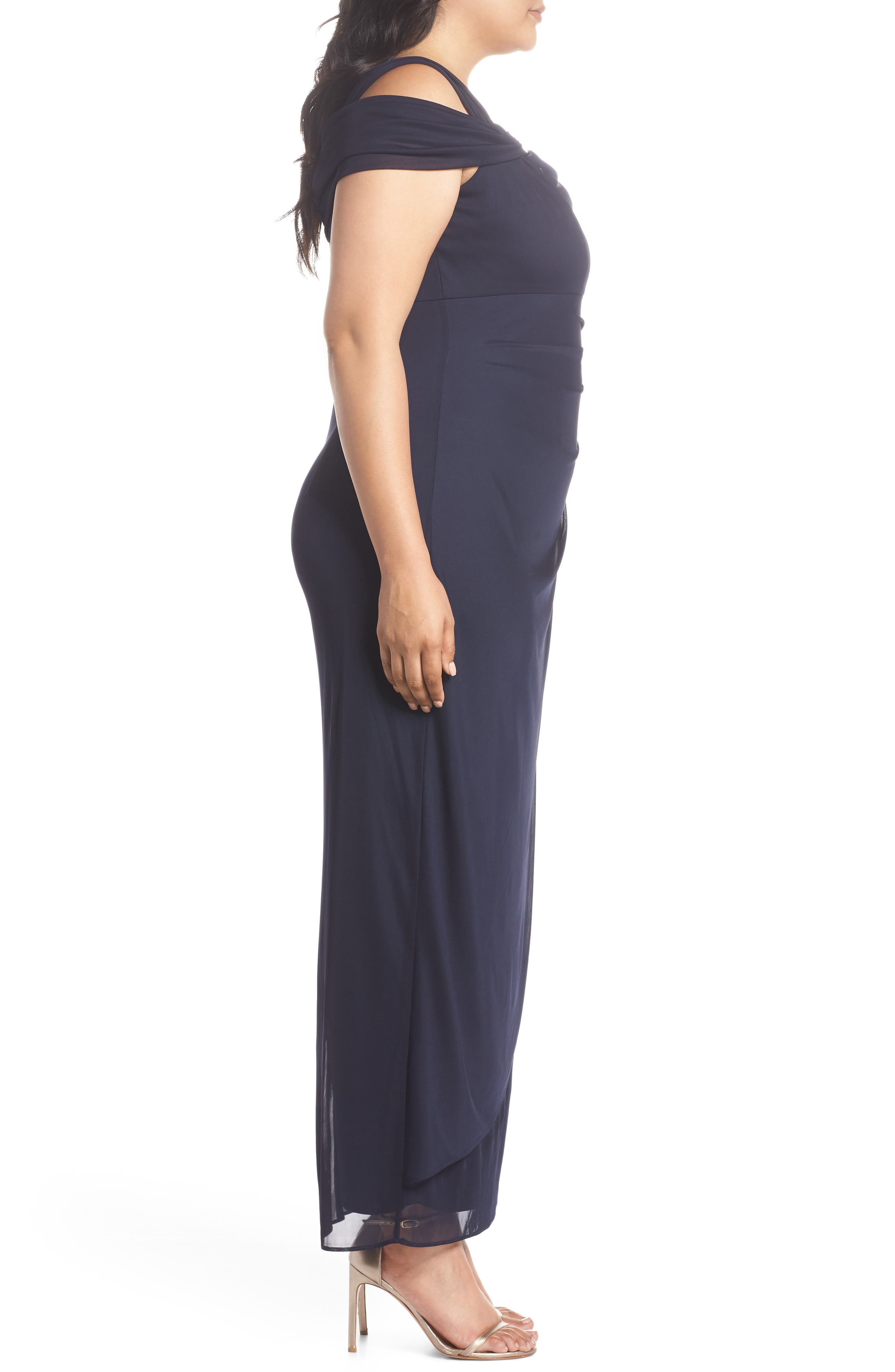 Embellished Cold Shoulder Gown,                             Alternate thumbnail 3, color,                             NAVY