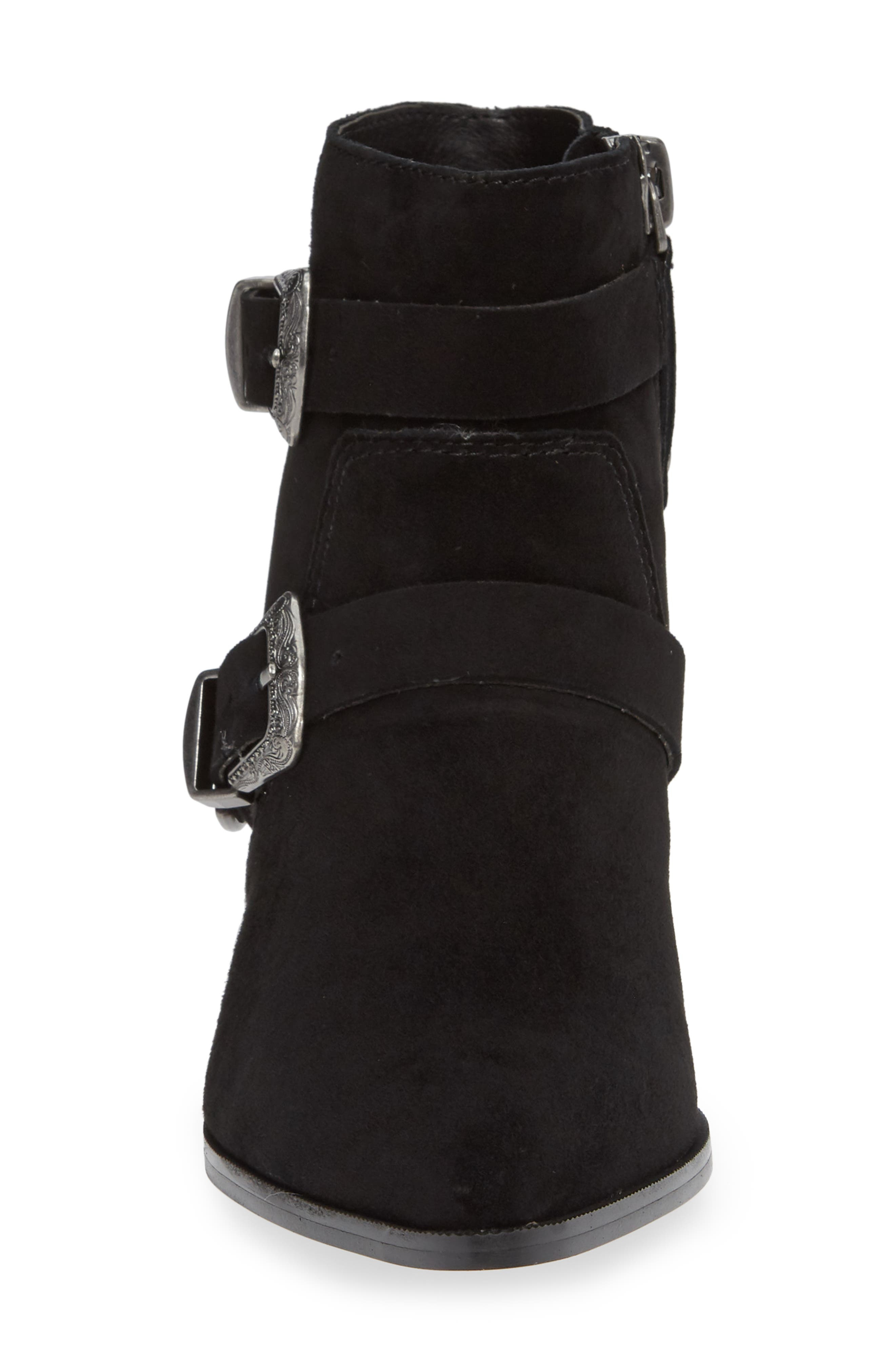 Cuff Buckle Strap Bootie,                             Alternate thumbnail 4, color,                             BLACK SUEDE
