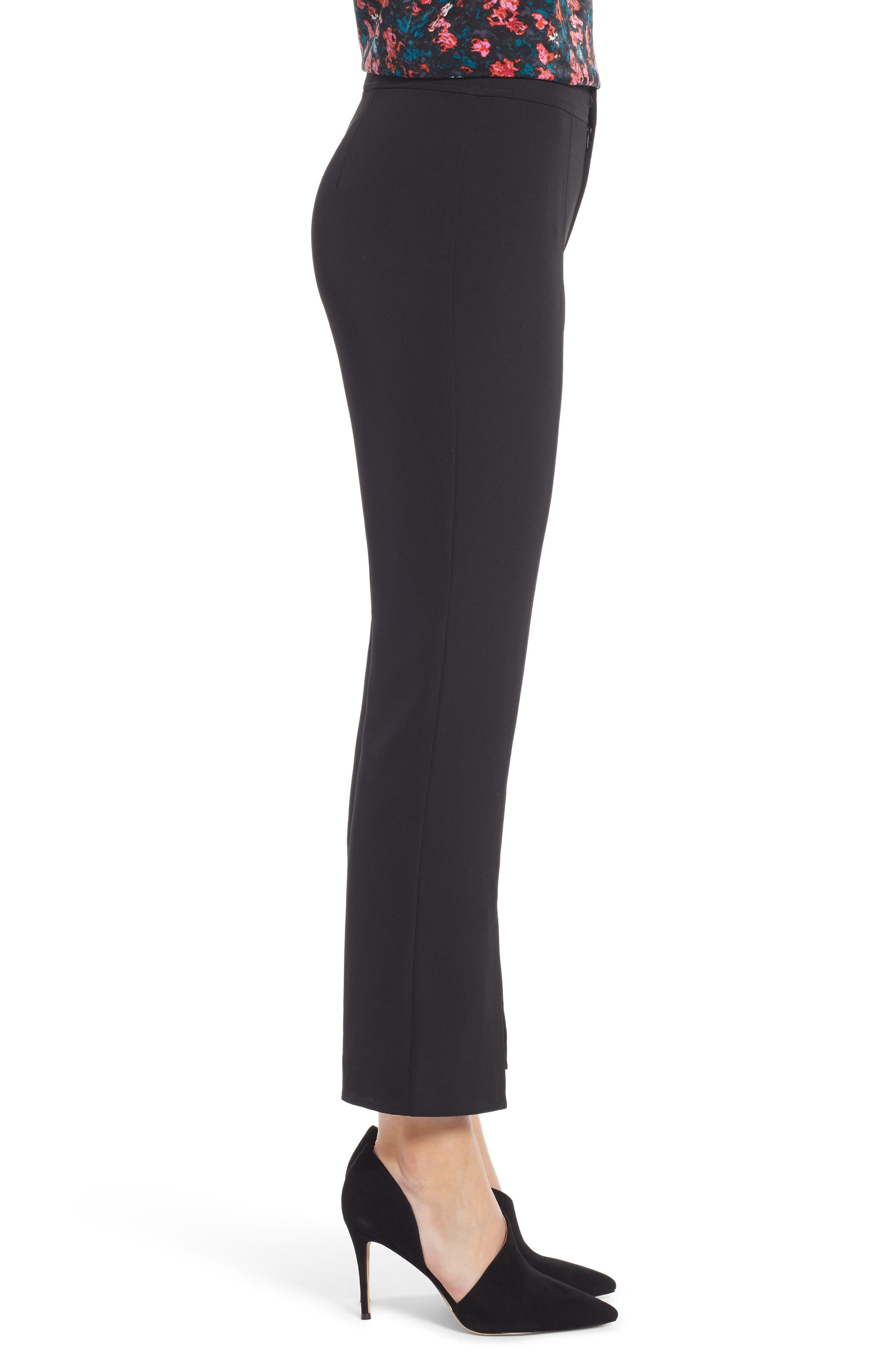 Skinny Slit Hem Pants,                             Alternate thumbnail 3, color,                             BLACK