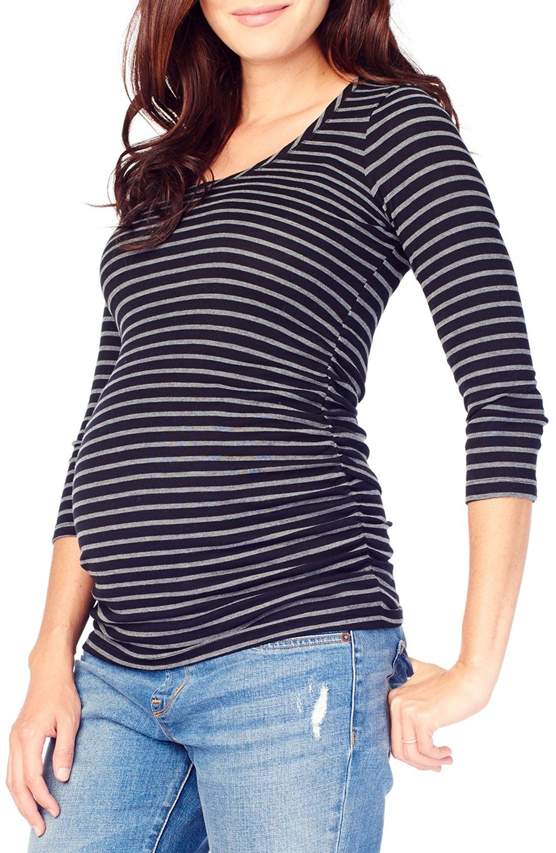 INGRID & ISABEL<SUP>®</SUP>,                             Stripe Ruched Maternity Top,                             Alternate thumbnail 4, color,                             004