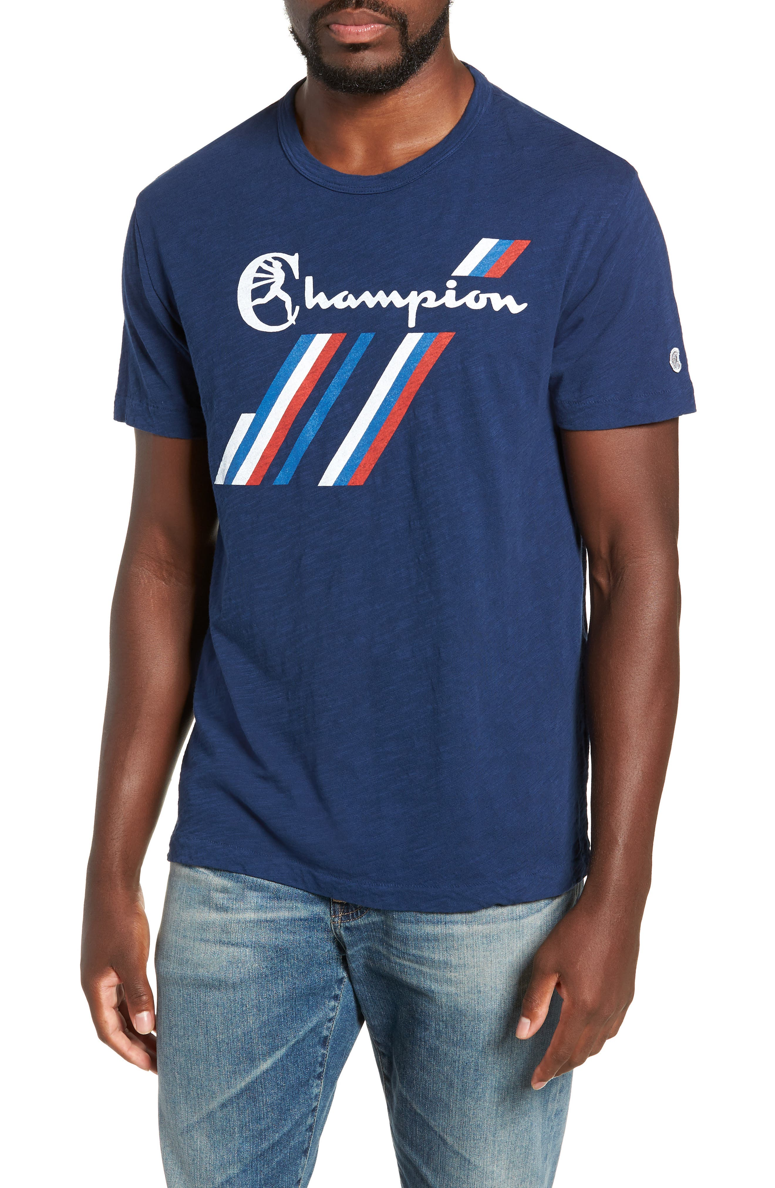+ Champion Stripe Graphic T-Shirt,                             Main thumbnail 1, color,                             MARINE