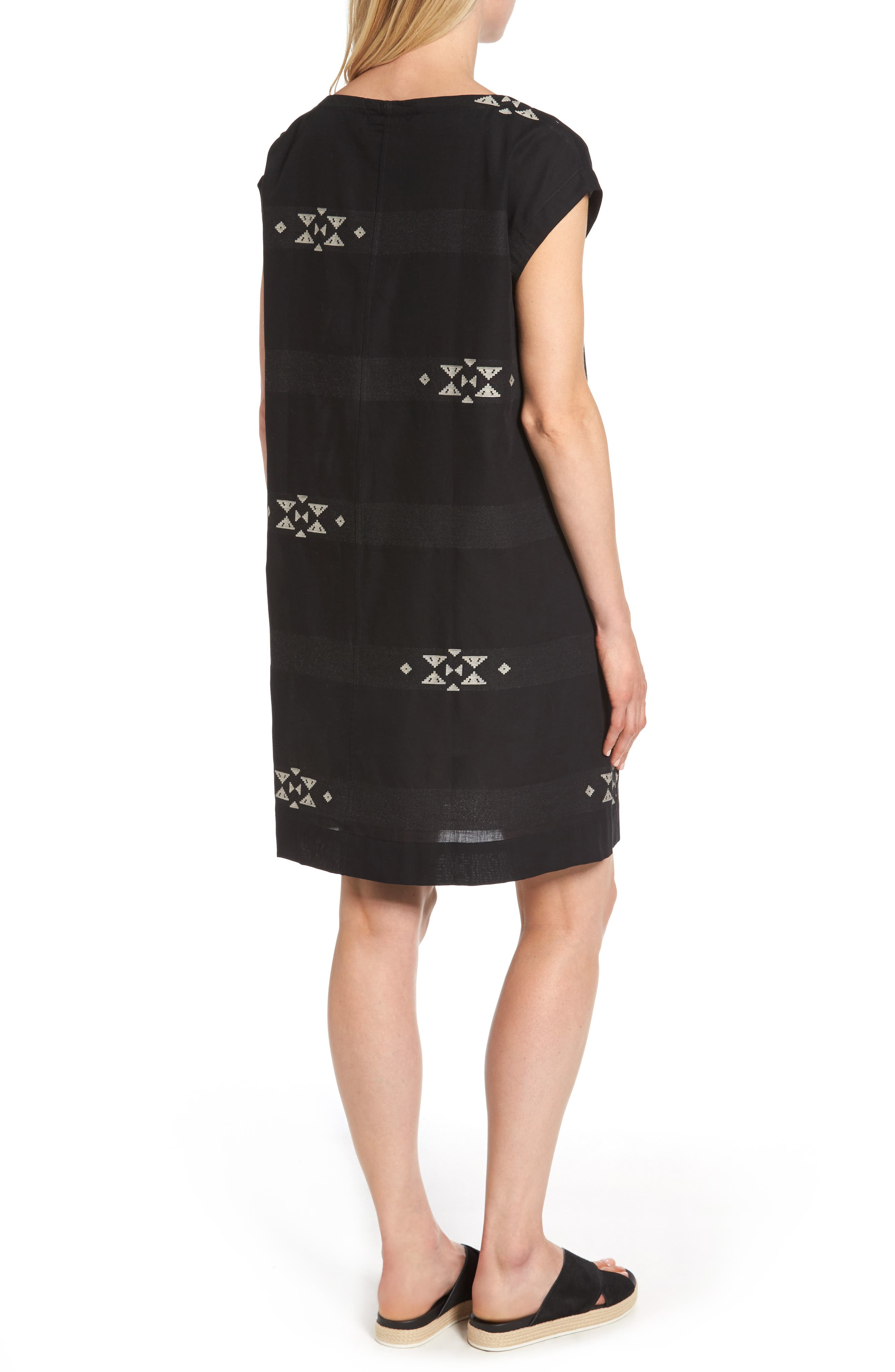 Cotton Jacquard Shirt Dress,                             Alternate thumbnail 2, color,                             001