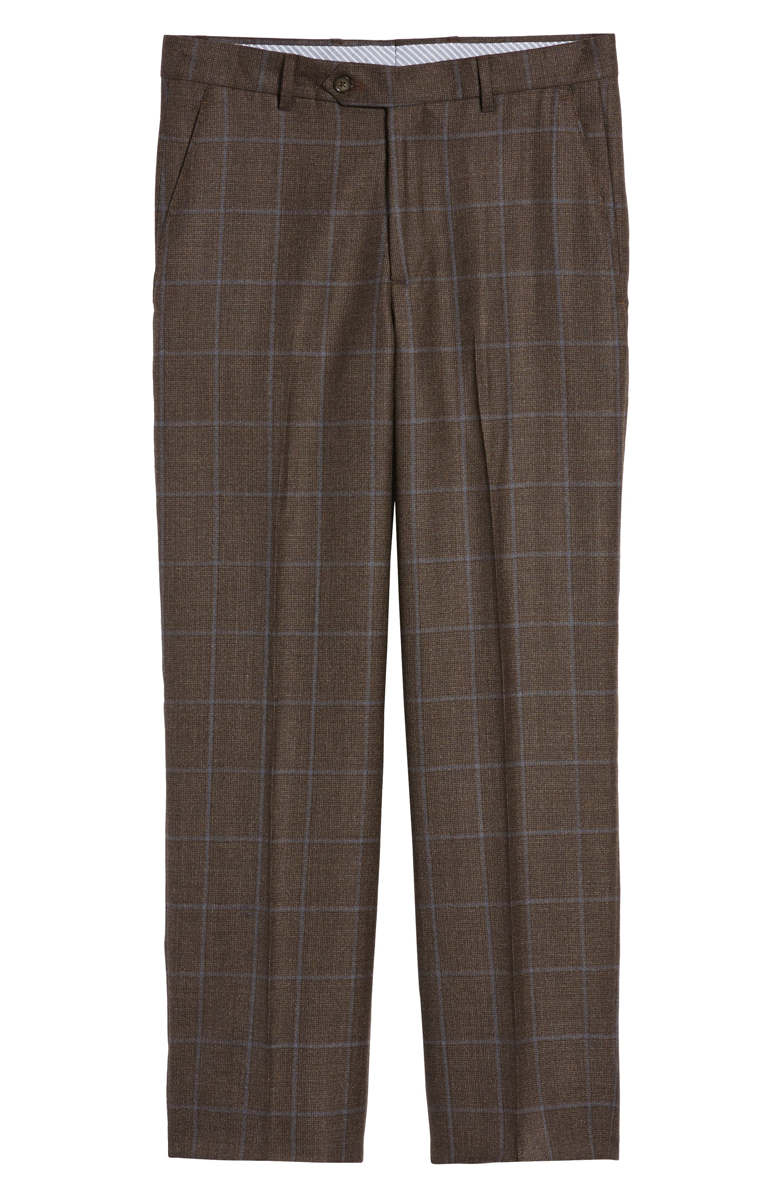 Flat Front Windowpane Wool Trousers,                             Alternate thumbnail 6, color,