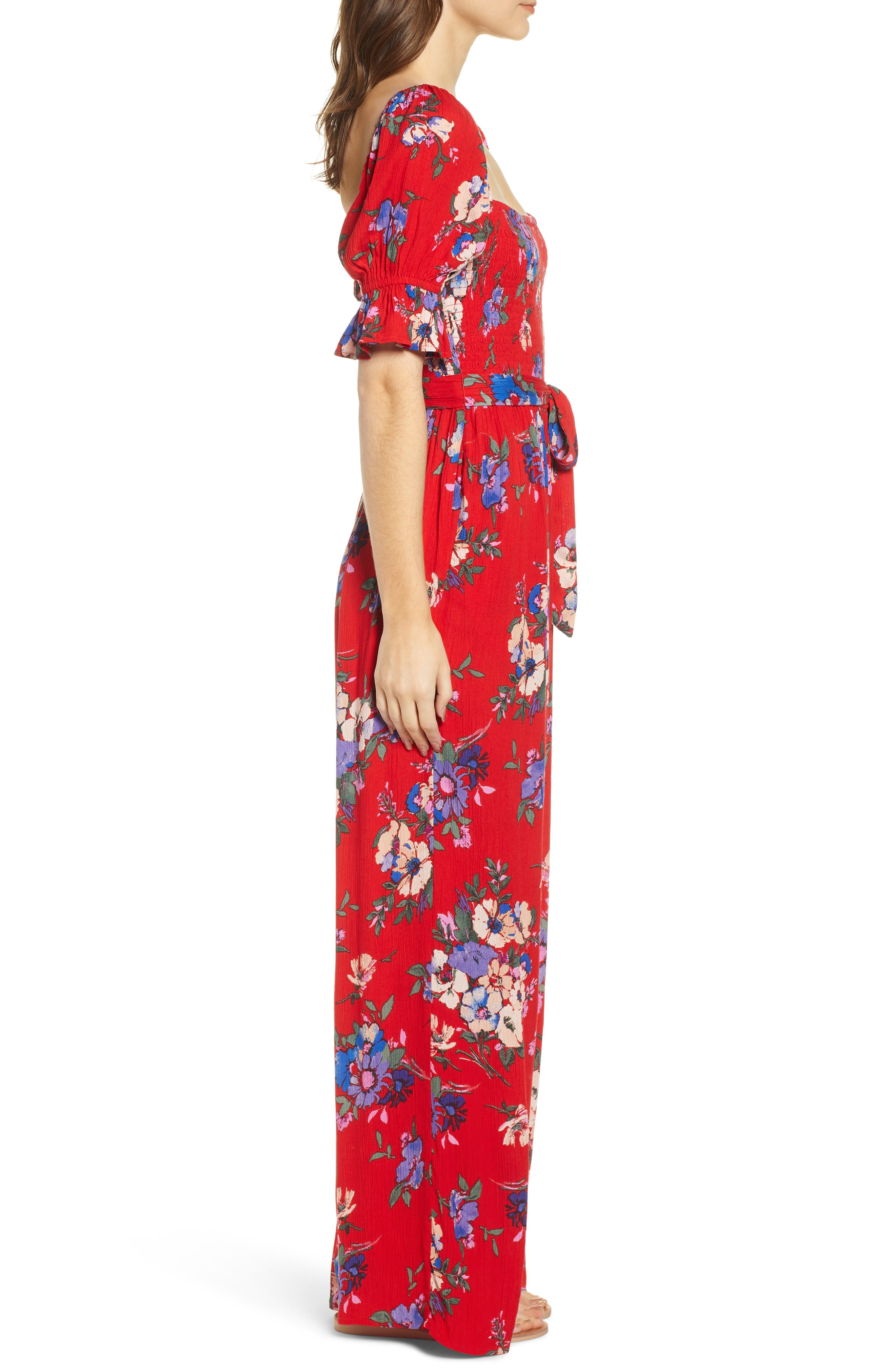 BAND OF GYPSIES,                             Manchester Smocked Jumpsuit,                             Alternate thumbnail 4, color,                             RED/ ROYAL