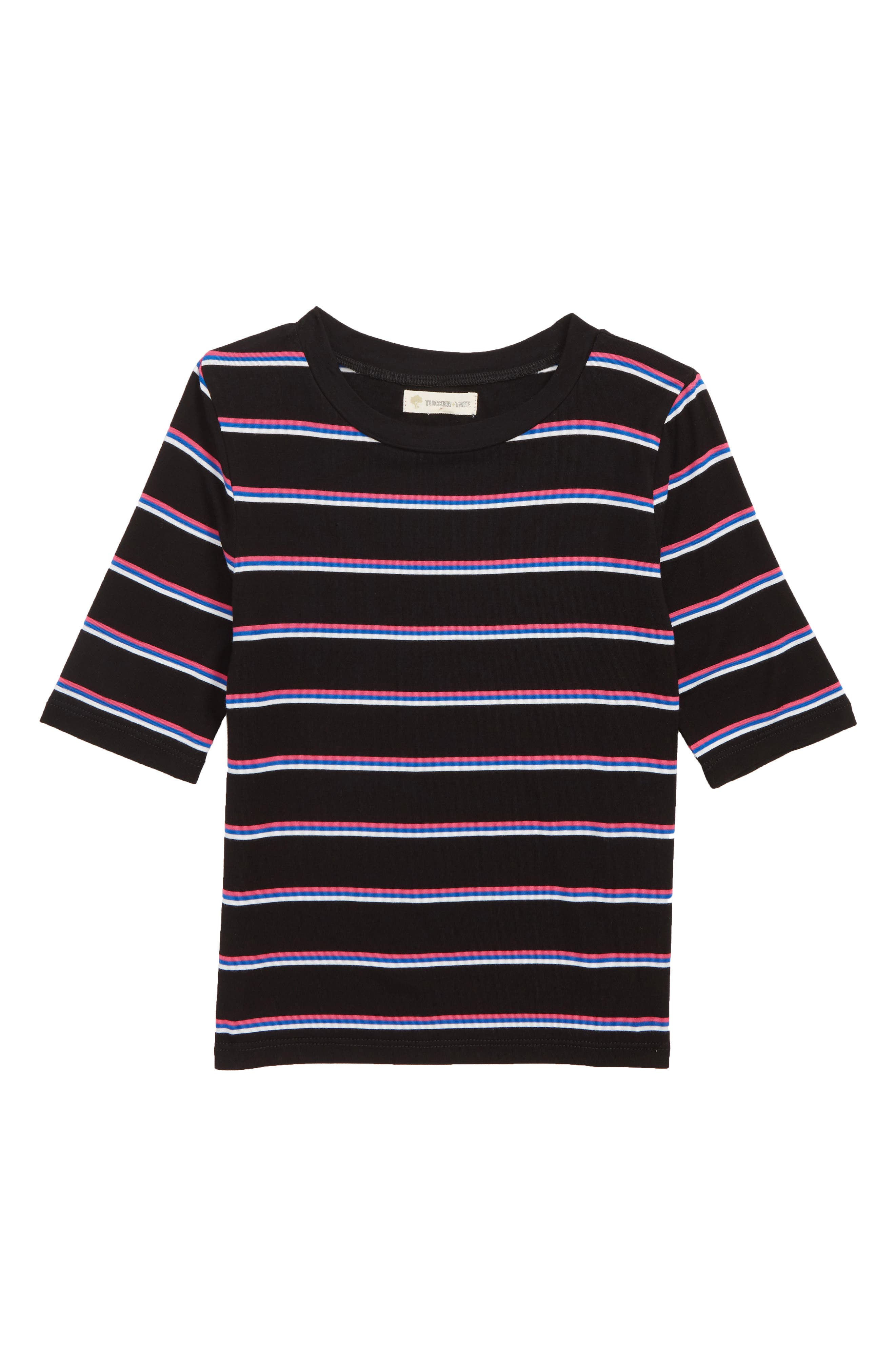 Stripe Tee,                             Main thumbnail 1, color,                             BLACK MULTI STRIPE