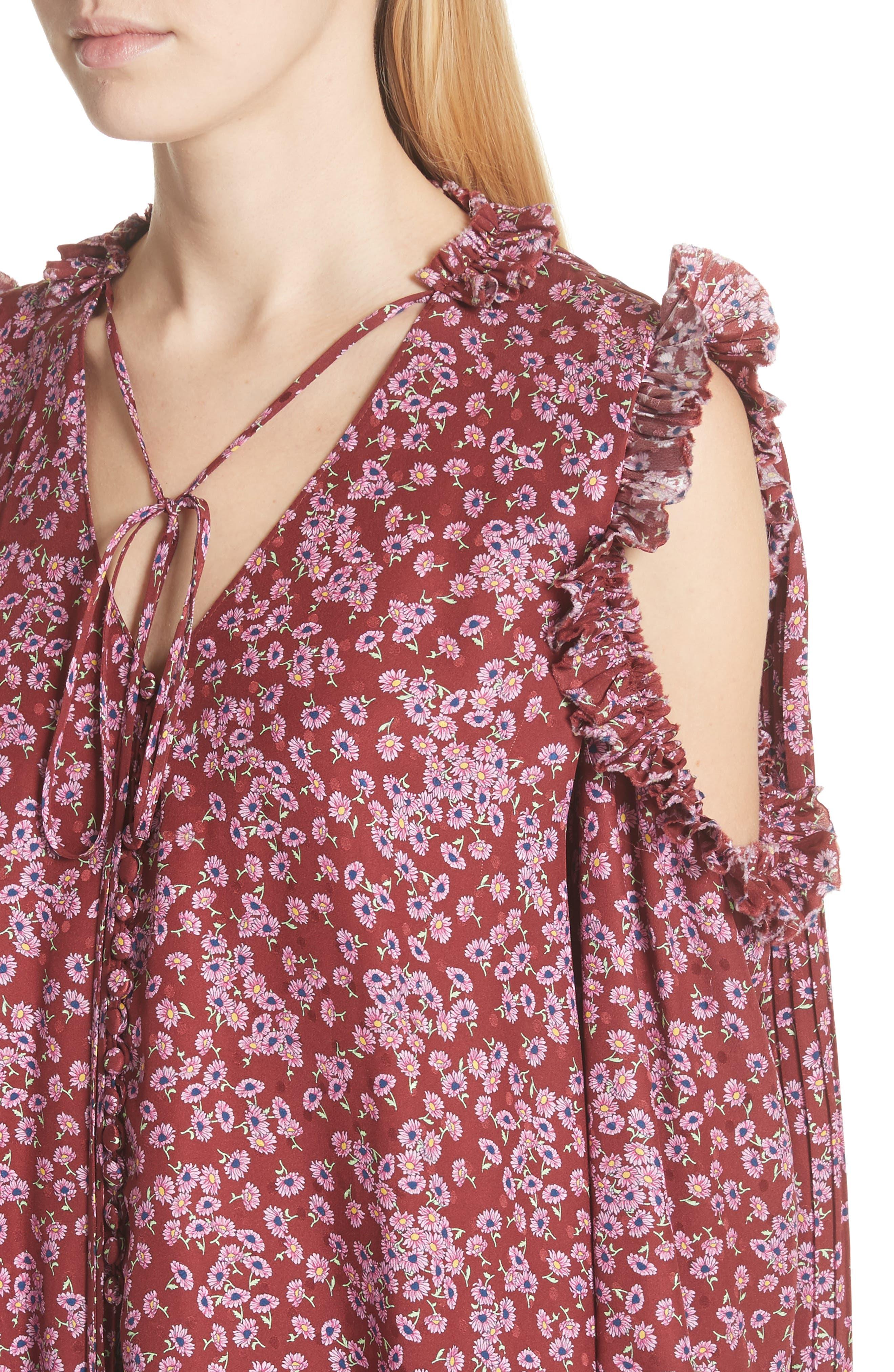 Floral Silk Cold Shoulder Top,                             Alternate thumbnail 4, color,                             930