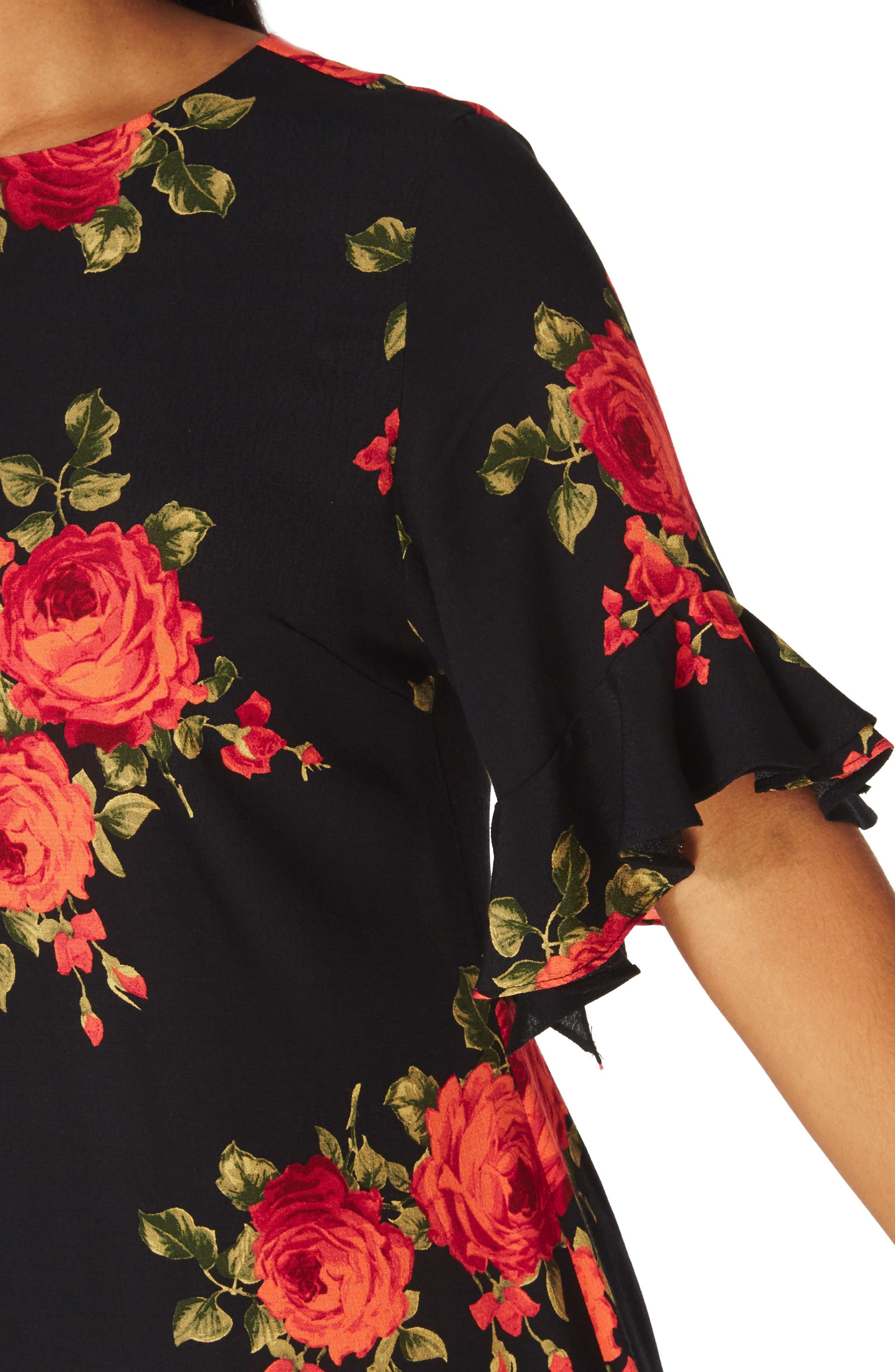 Rose Shift Dress,                             Alternate thumbnail 4, color,                             651