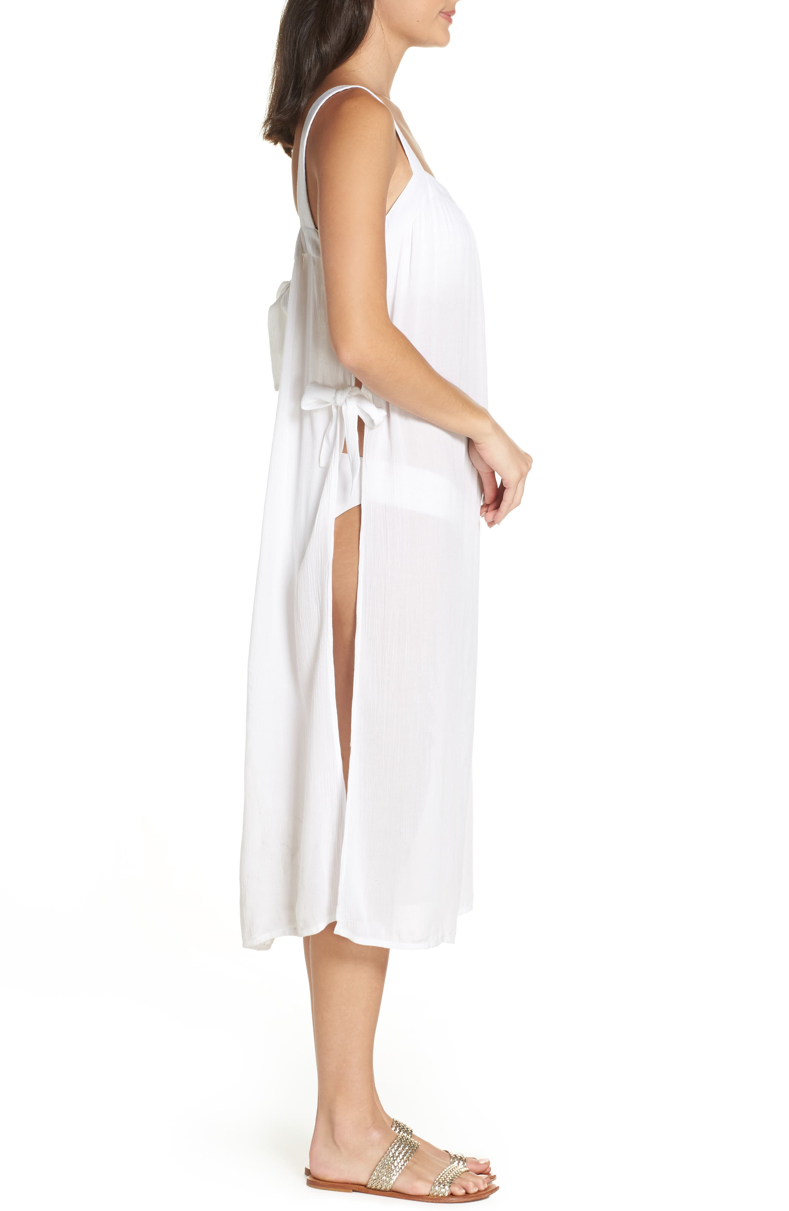 Lucca Cover-Up Midi Dress,                             Alternate thumbnail 3, color,                             WHITE