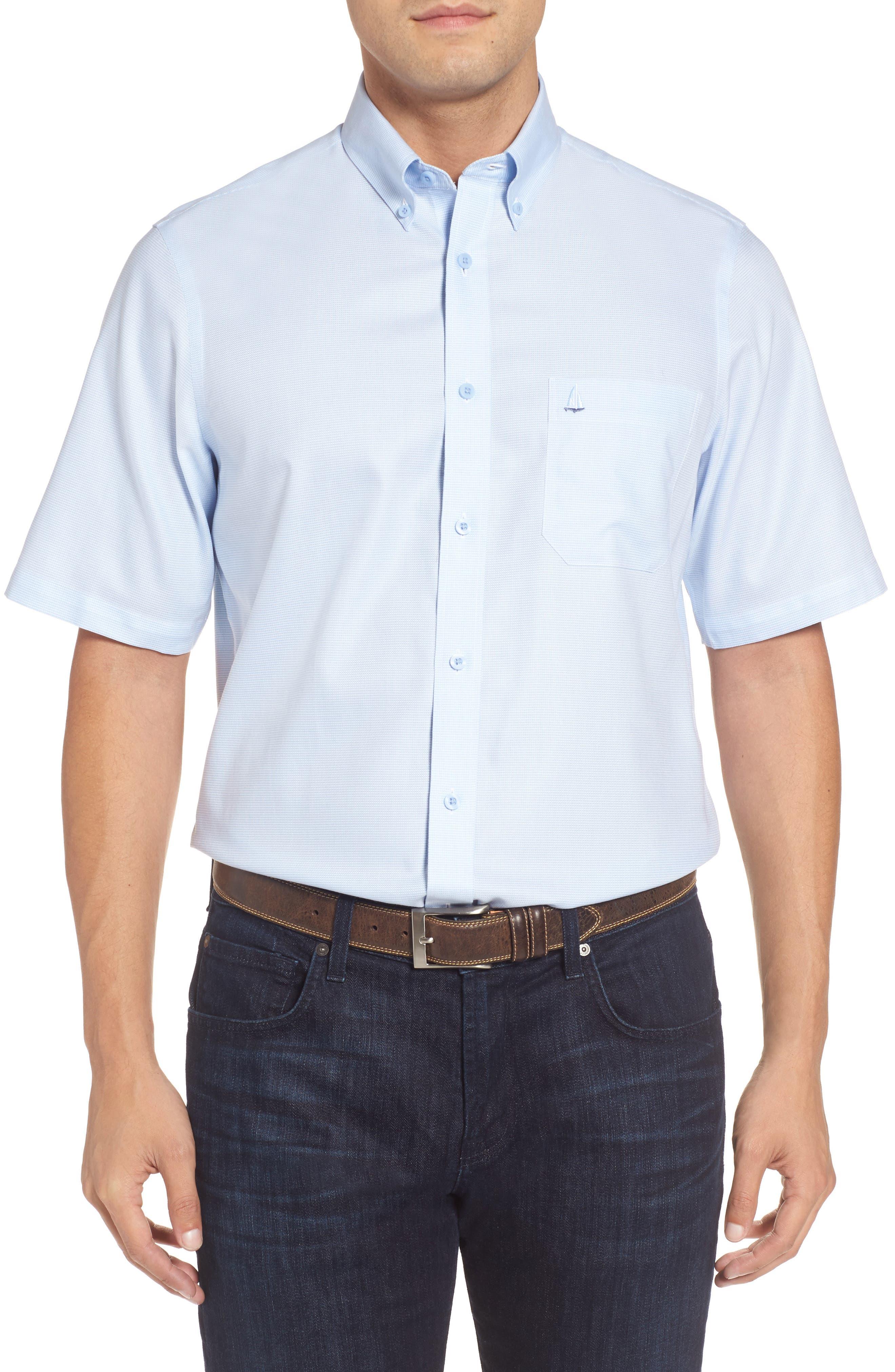 'Classic' Smartcare<sup>™</sup> Regular Fit Short Sleeve Cotton Sport Shirt,                             Alternate thumbnail 38, color,