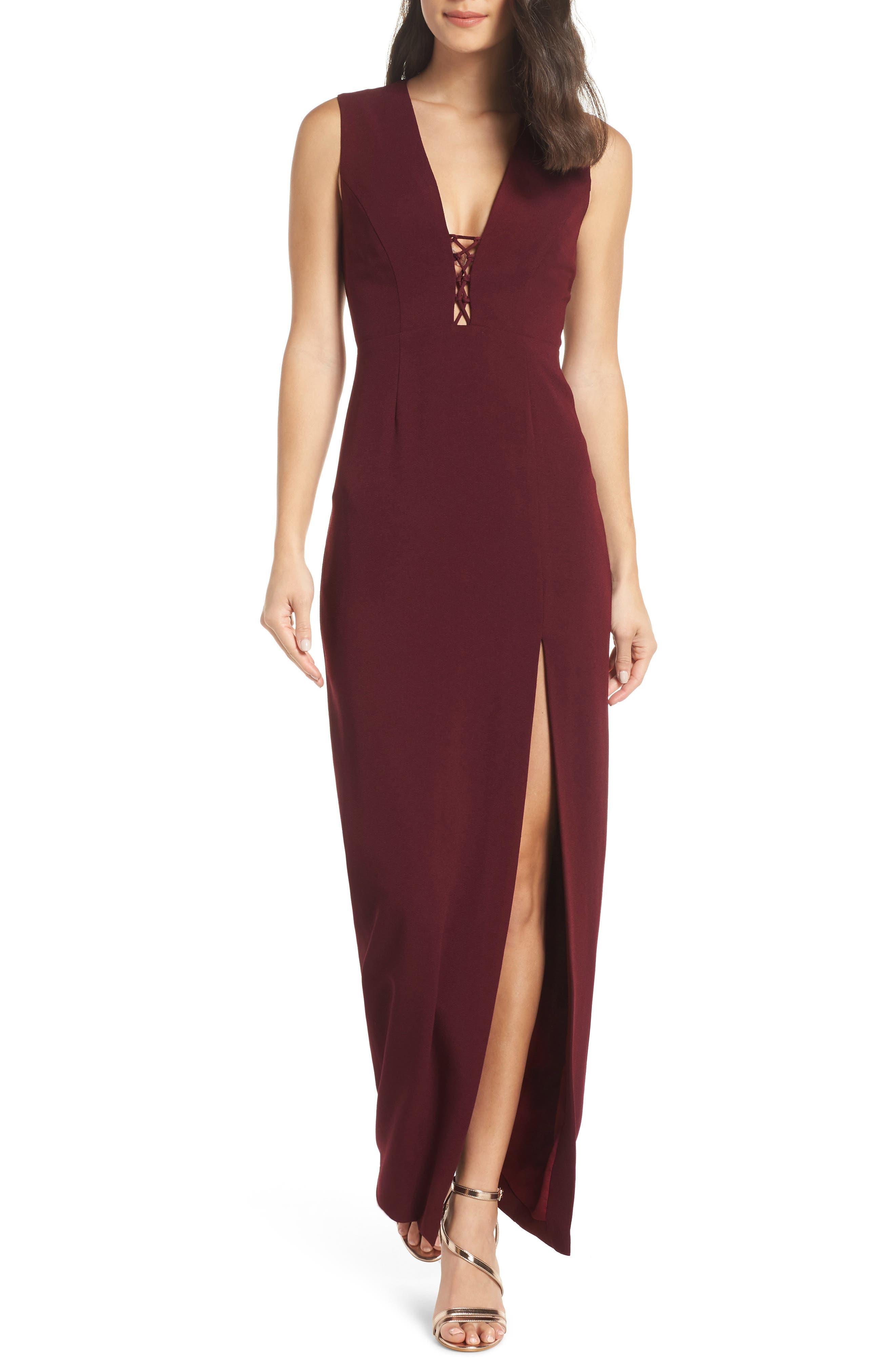The Casey Plunge Neck Gown, Main, color, CABERNET
