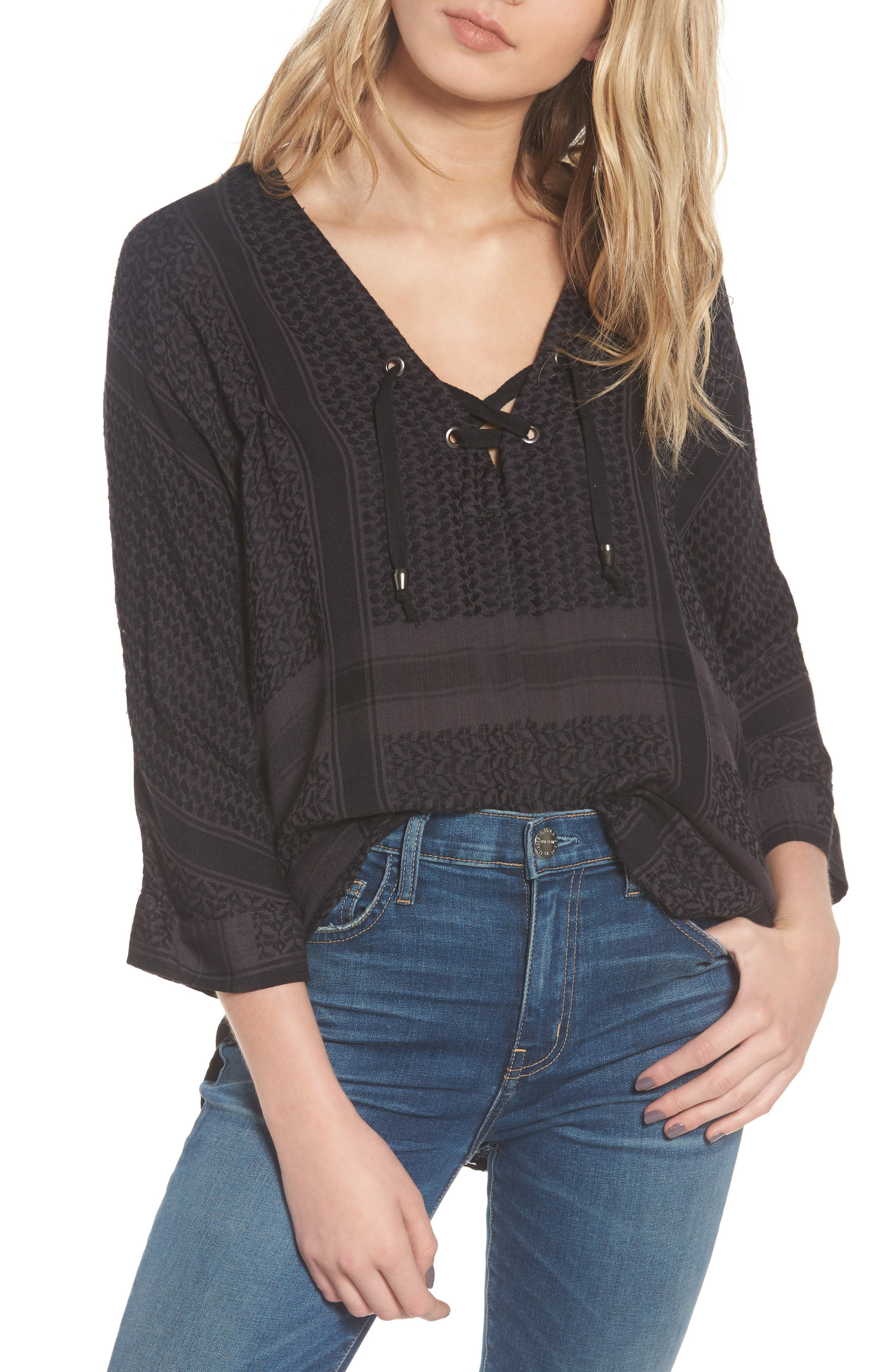 Lily Pullover Blouse,                         Main,                         color, ONYX JACQUARD