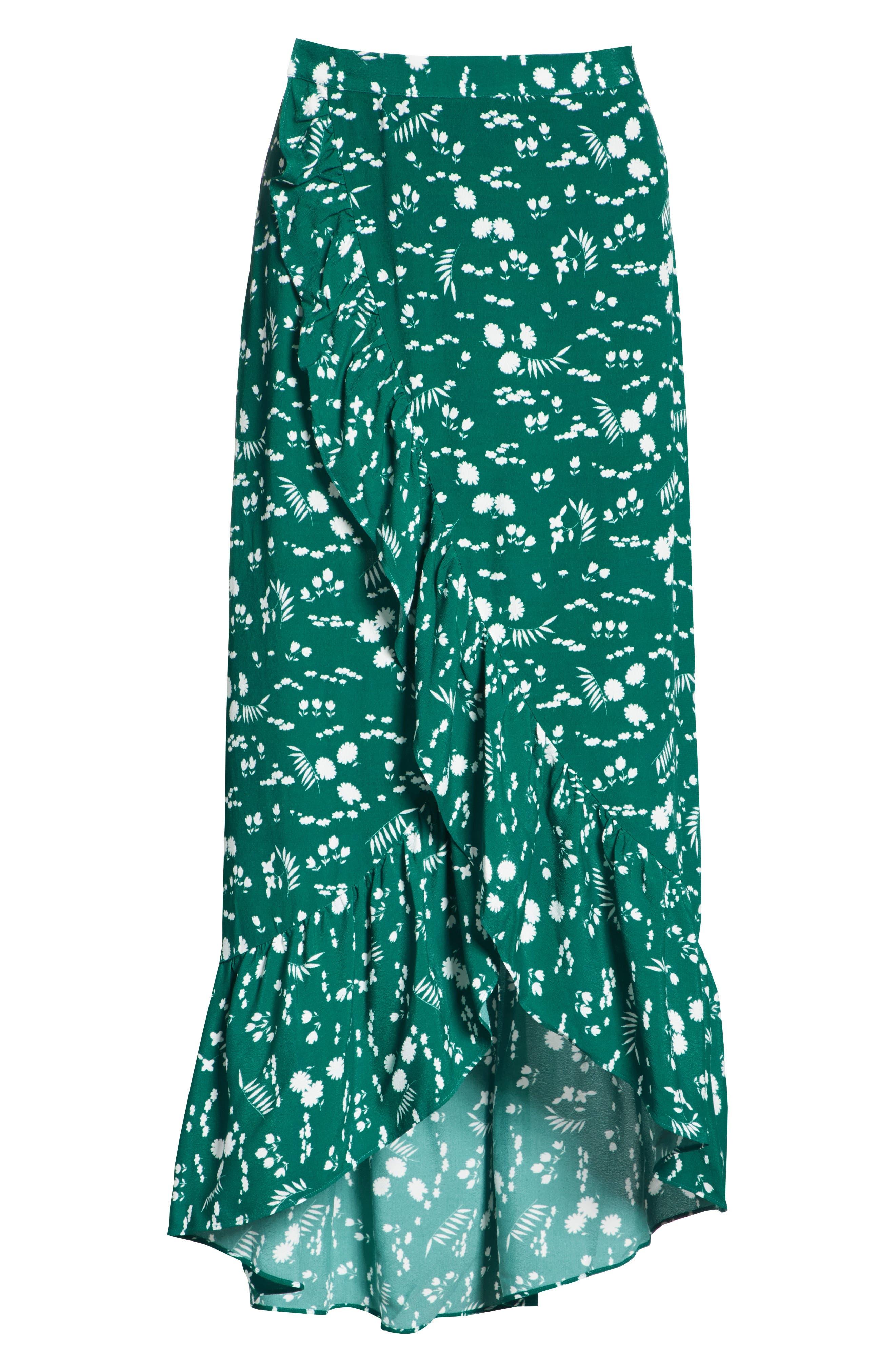 Floral High/Low Wrap Skirt,                             Alternate thumbnail 6, color,                             900