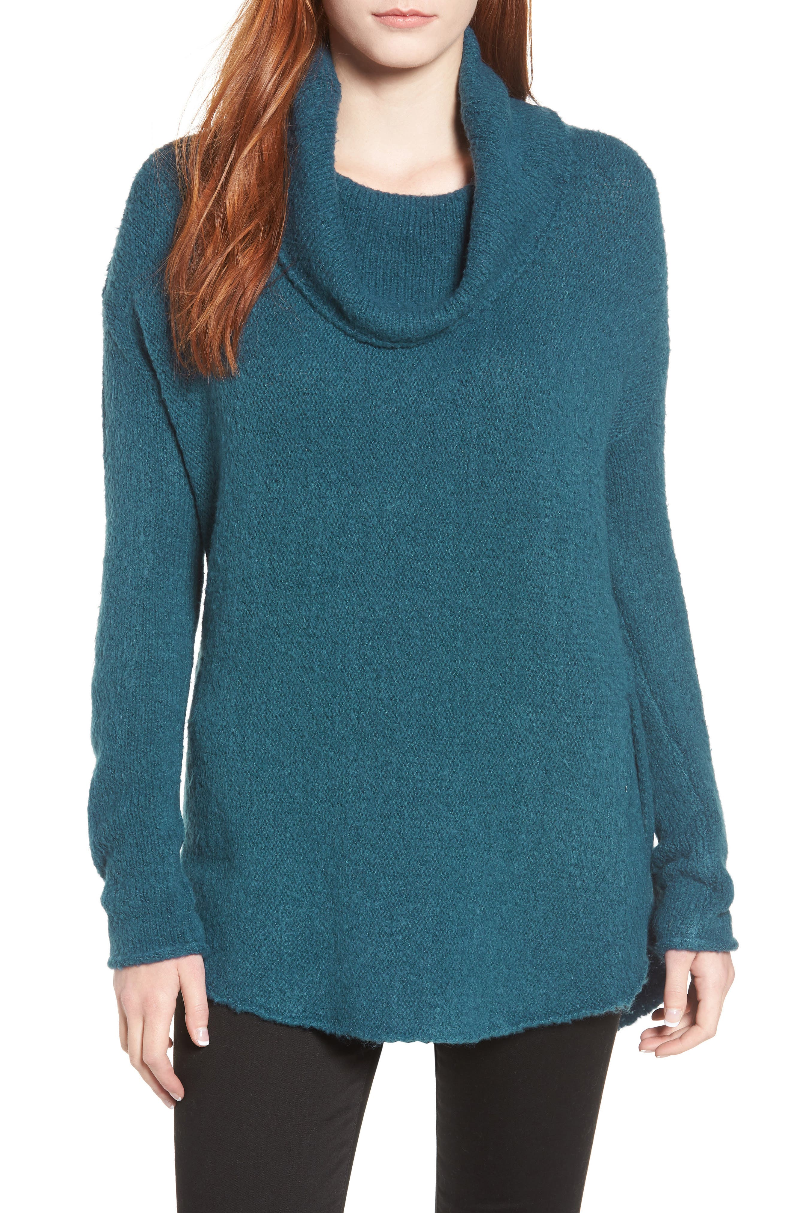 Tunic Sweater,                             Main thumbnail 1, color,                             TEAL CORAL