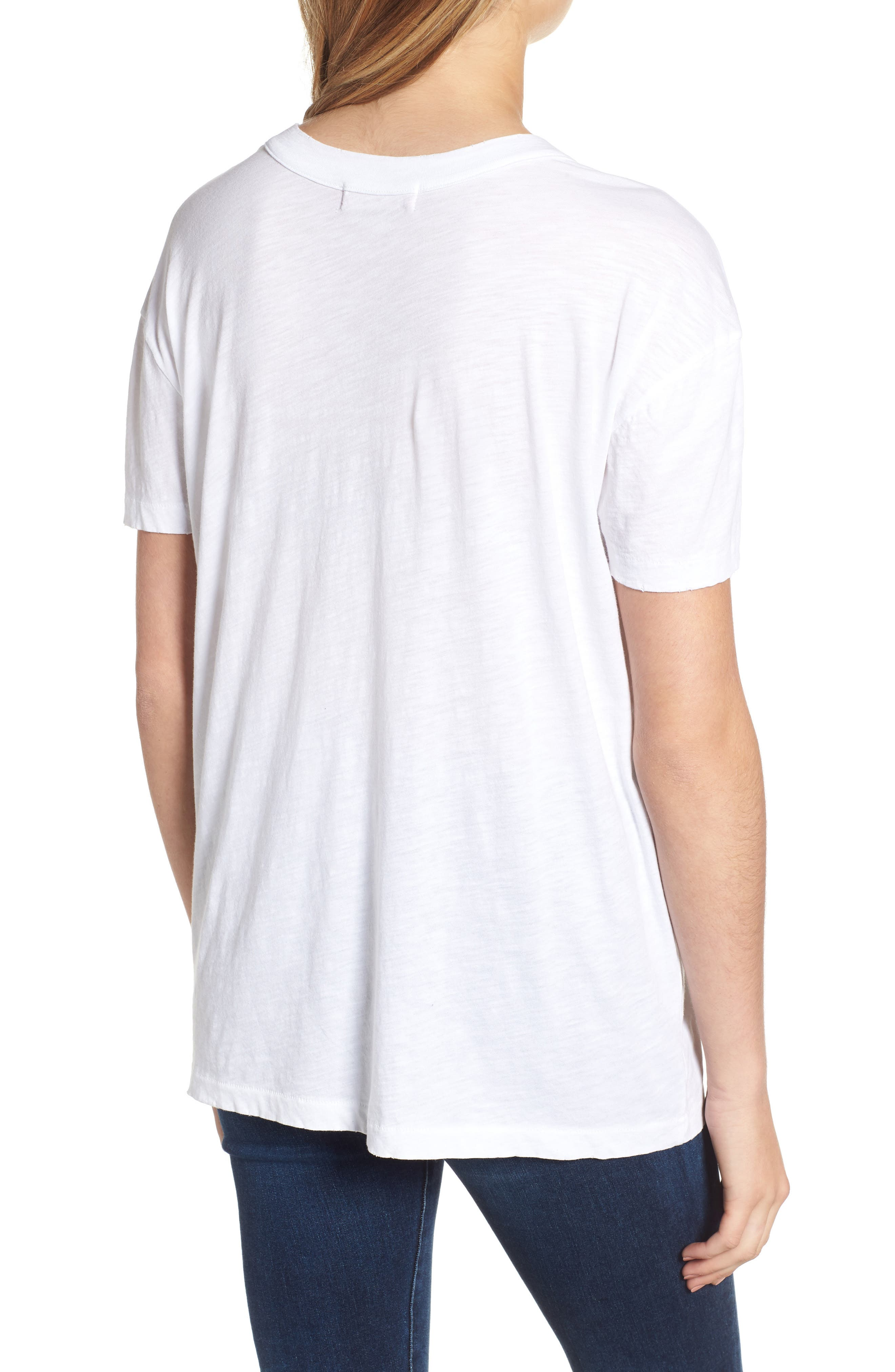 Allen Cutout Detail Boyfriend Cotton Tee,                             Alternate thumbnail 2, color,                             WHITE