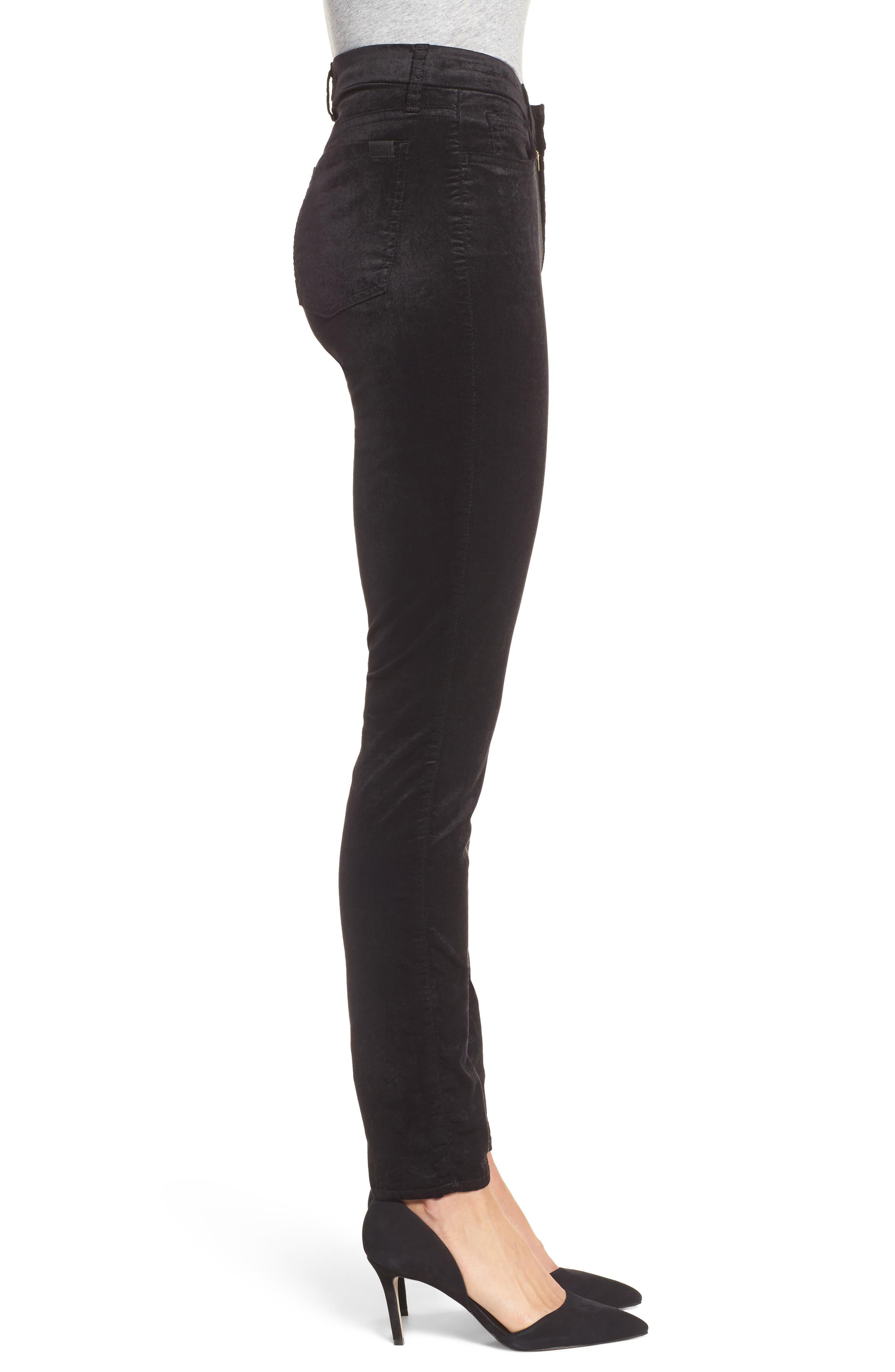Stretch Velvet Ankle Skinny Jeans,                             Alternate thumbnail 3, color,                             004