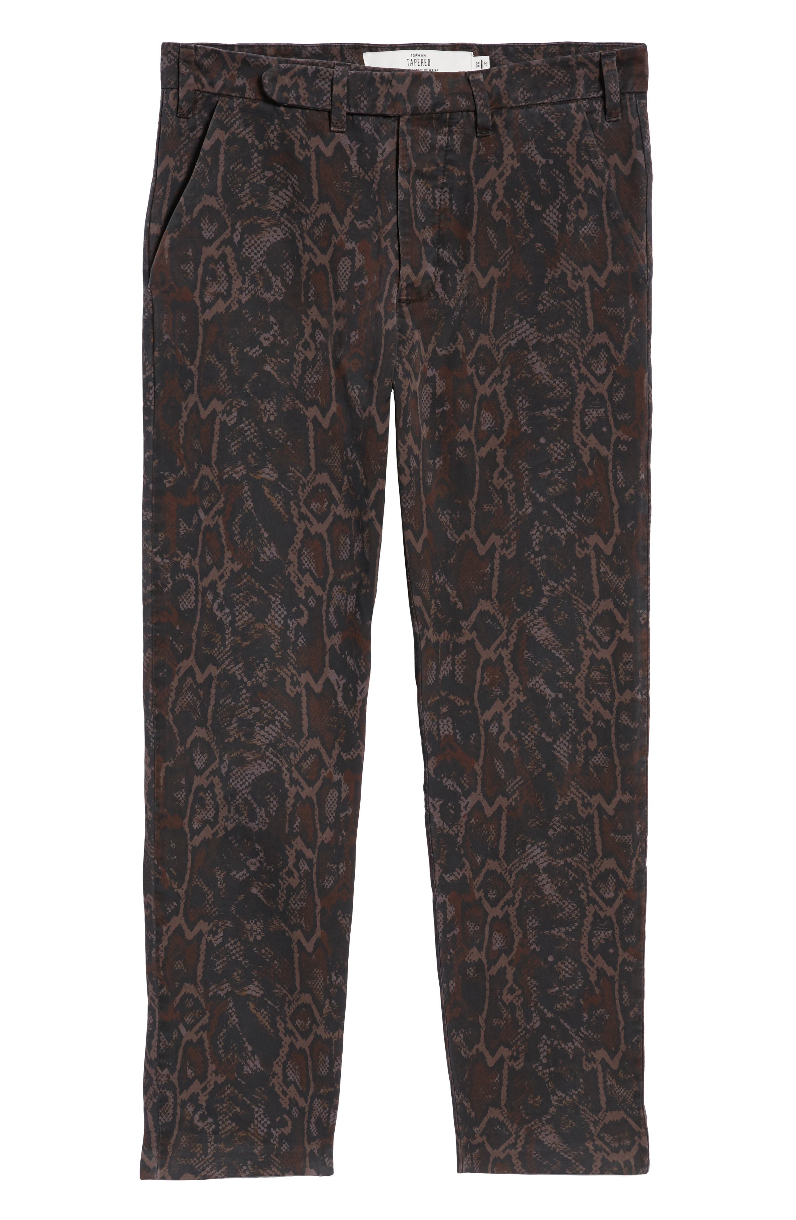 Tapered Fit Snakeskin Print Pants,                             Alternate thumbnail 6, color,                             GOLD MULTI