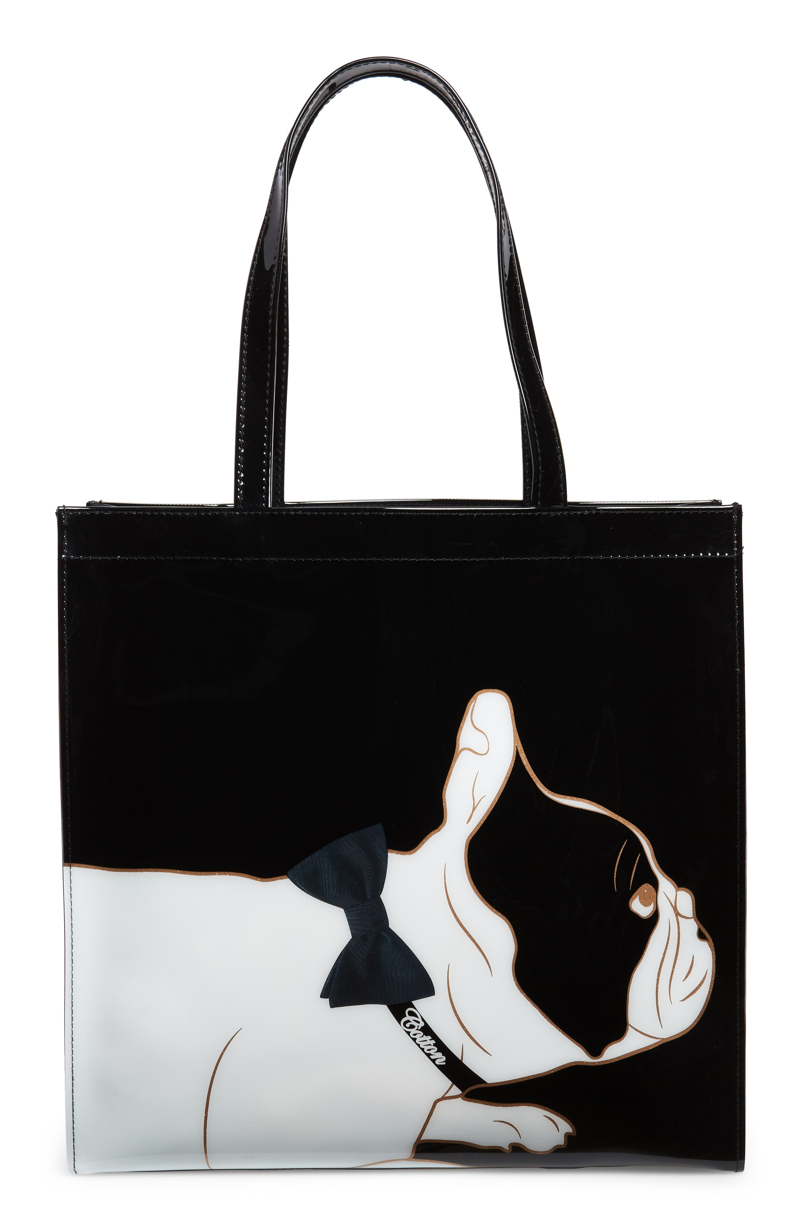 TED BAKER LONDON,                             Large Alyacon French Bulldog Icon Tote,                             Alternate thumbnail 3, color,                             001