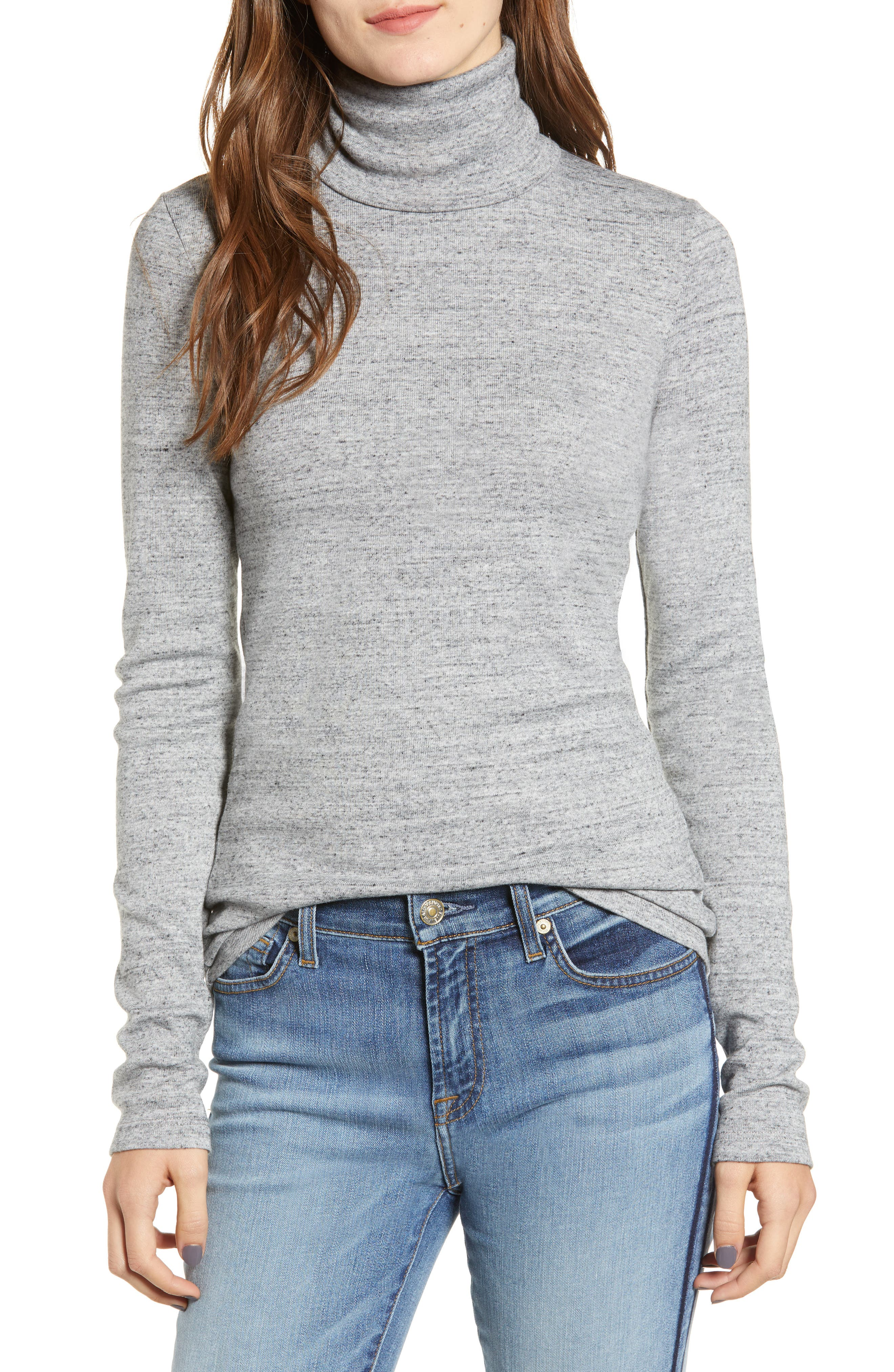 Ribbed Turtleneck,                         Main,                         color, HEATHER GREY
