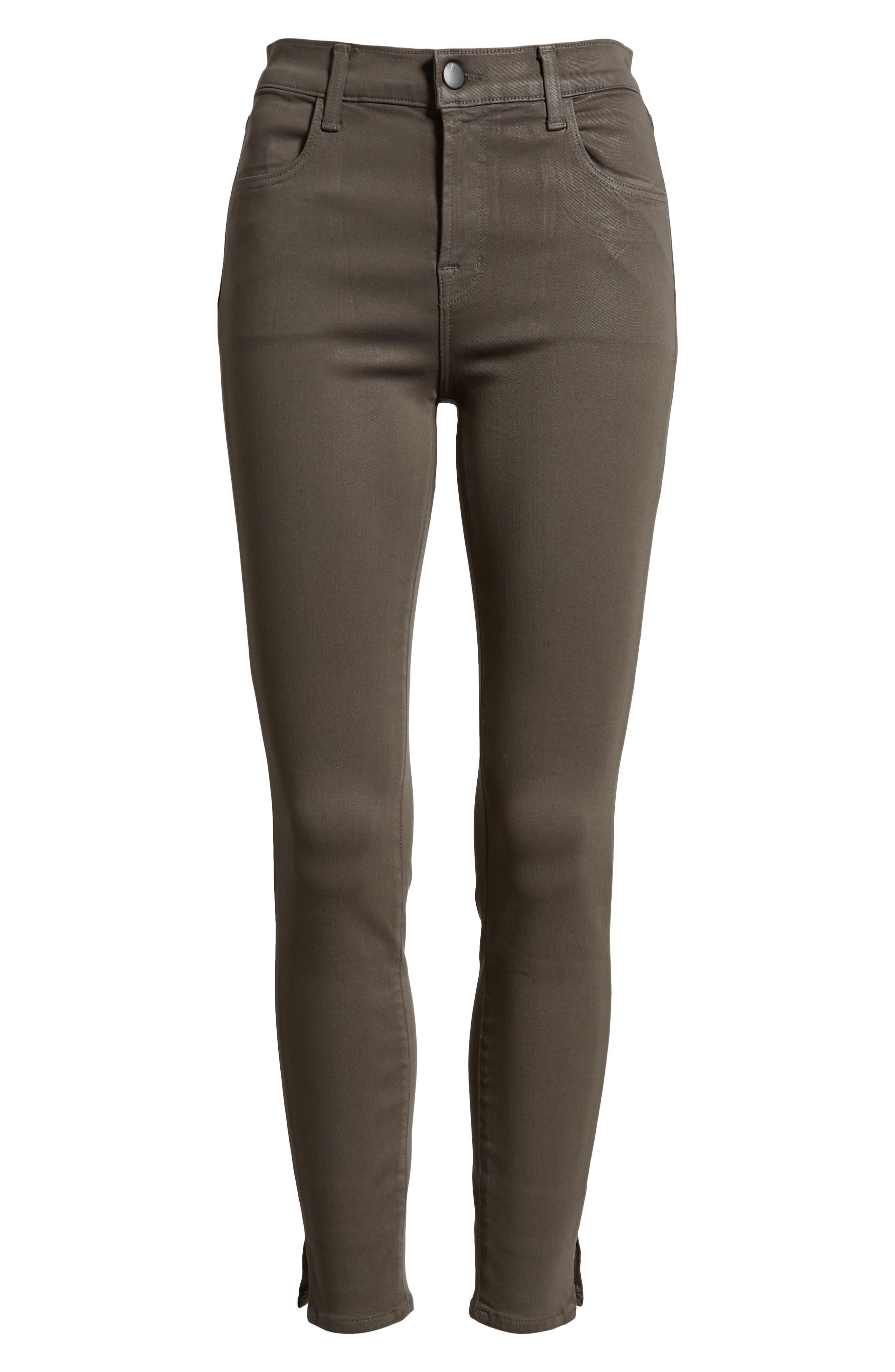 Alana High Waist Crop Skinny Jeans,                             Alternate thumbnail 7, color,                             COATED JUNIPER