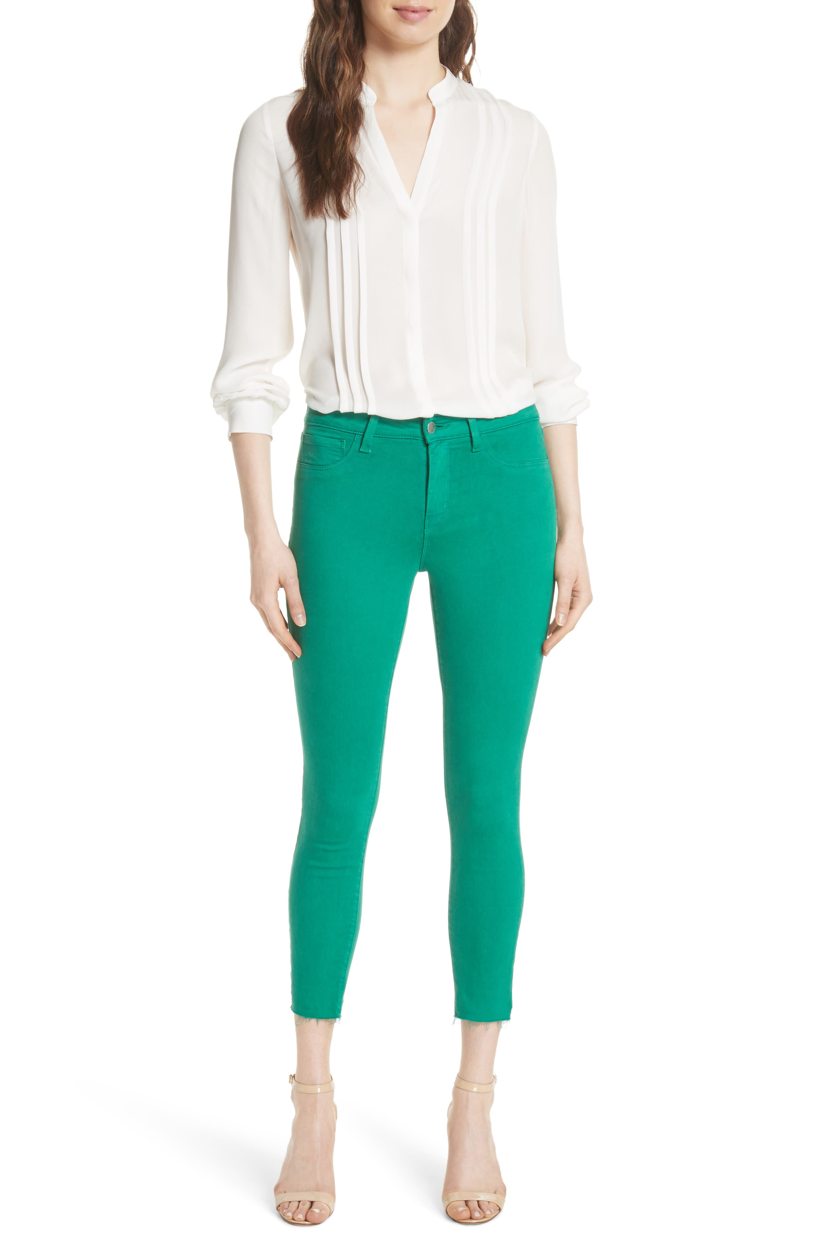 Margot Crop Skinny Jeans,                             Alternate thumbnail 7, color,                             EMERALD