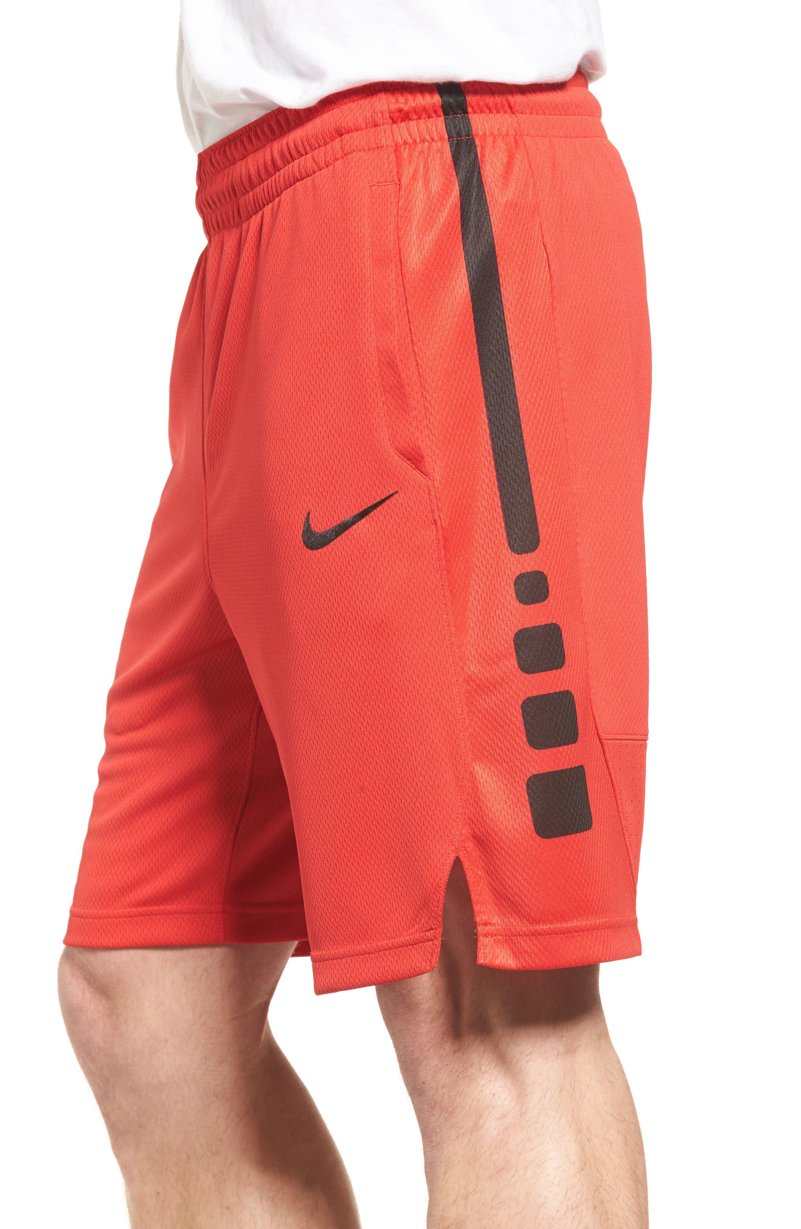 Elite Stripe Basketball Shorts,                             Alternate thumbnail 4, color,                             UNIVERSITY RED/ BLACK