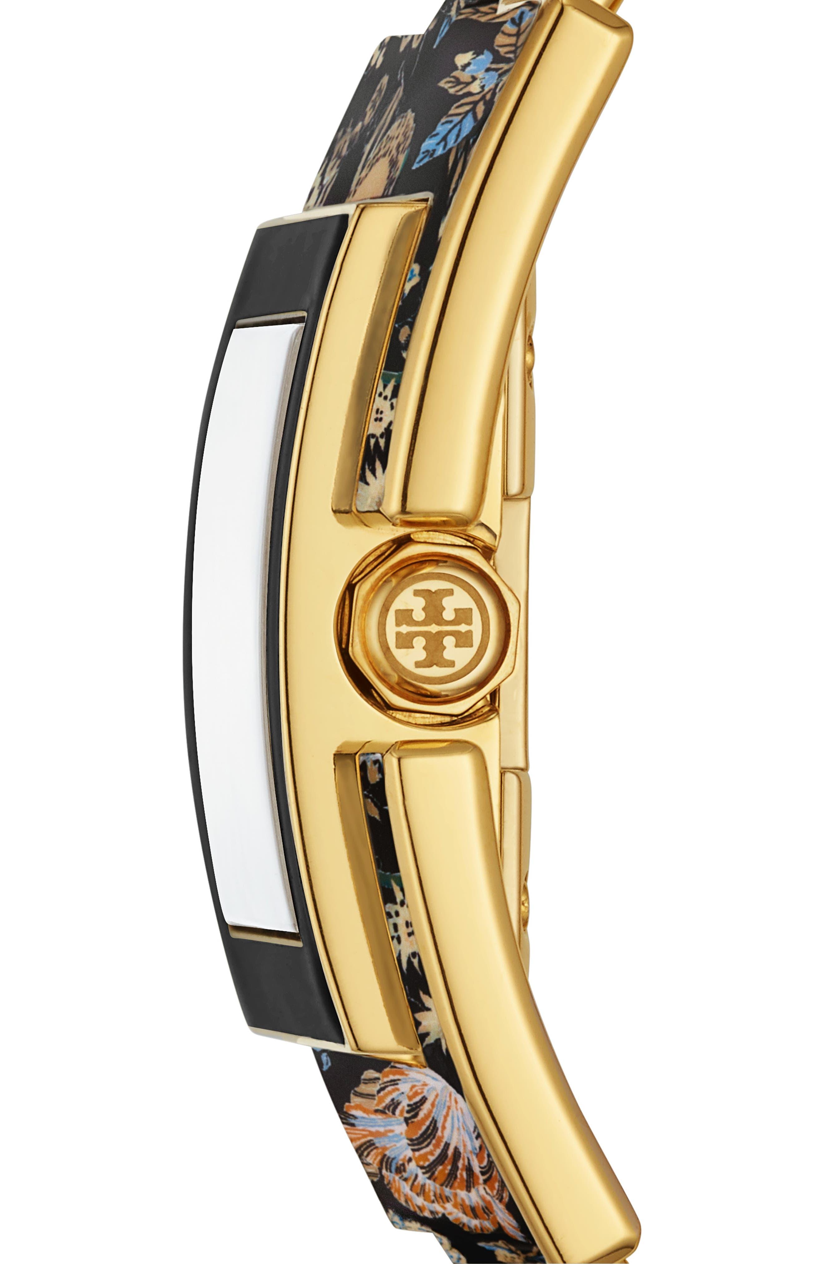 T Bangle Bracelet Watch, 25mm x 25mm,                             Alternate thumbnail 2, color,                             BLACK/ GOLD