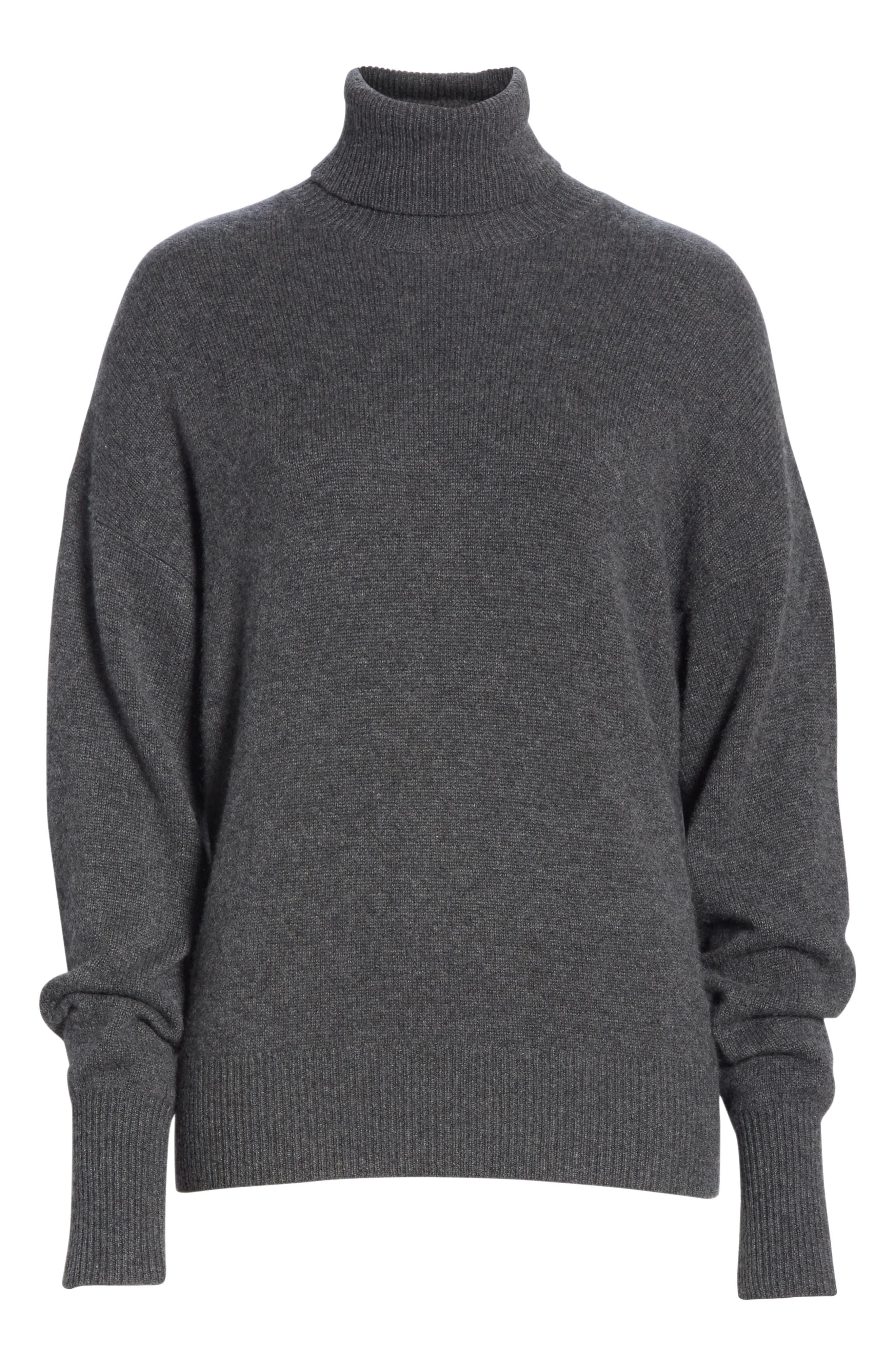 Cashmere Drop Shoulder Turtleneck Sweater,                             Alternate thumbnail 6, color,                             HEATHER BOULDER