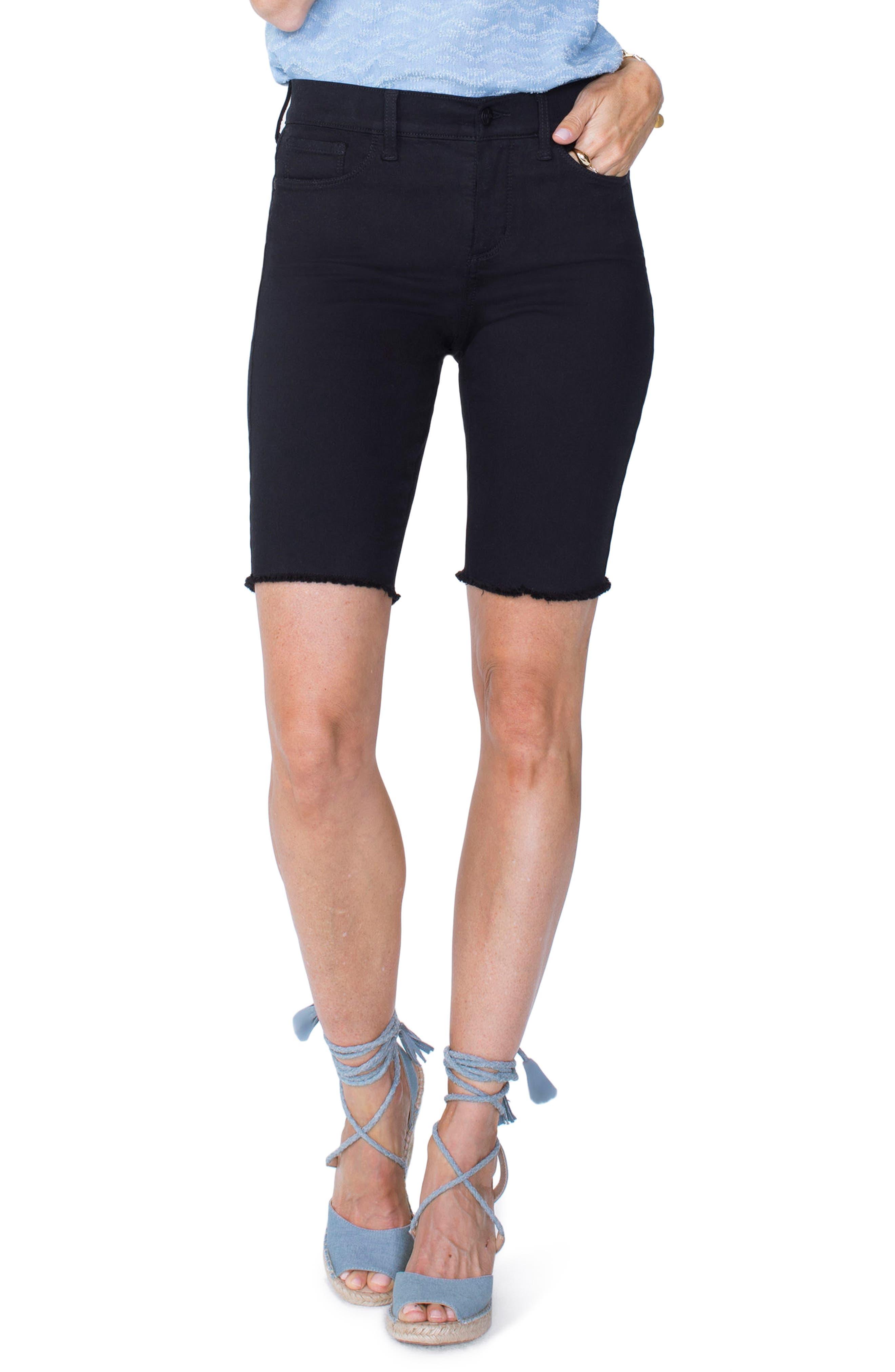 Briella Frayed Hem Bermuda Shorts,                         Main,                         color, 001