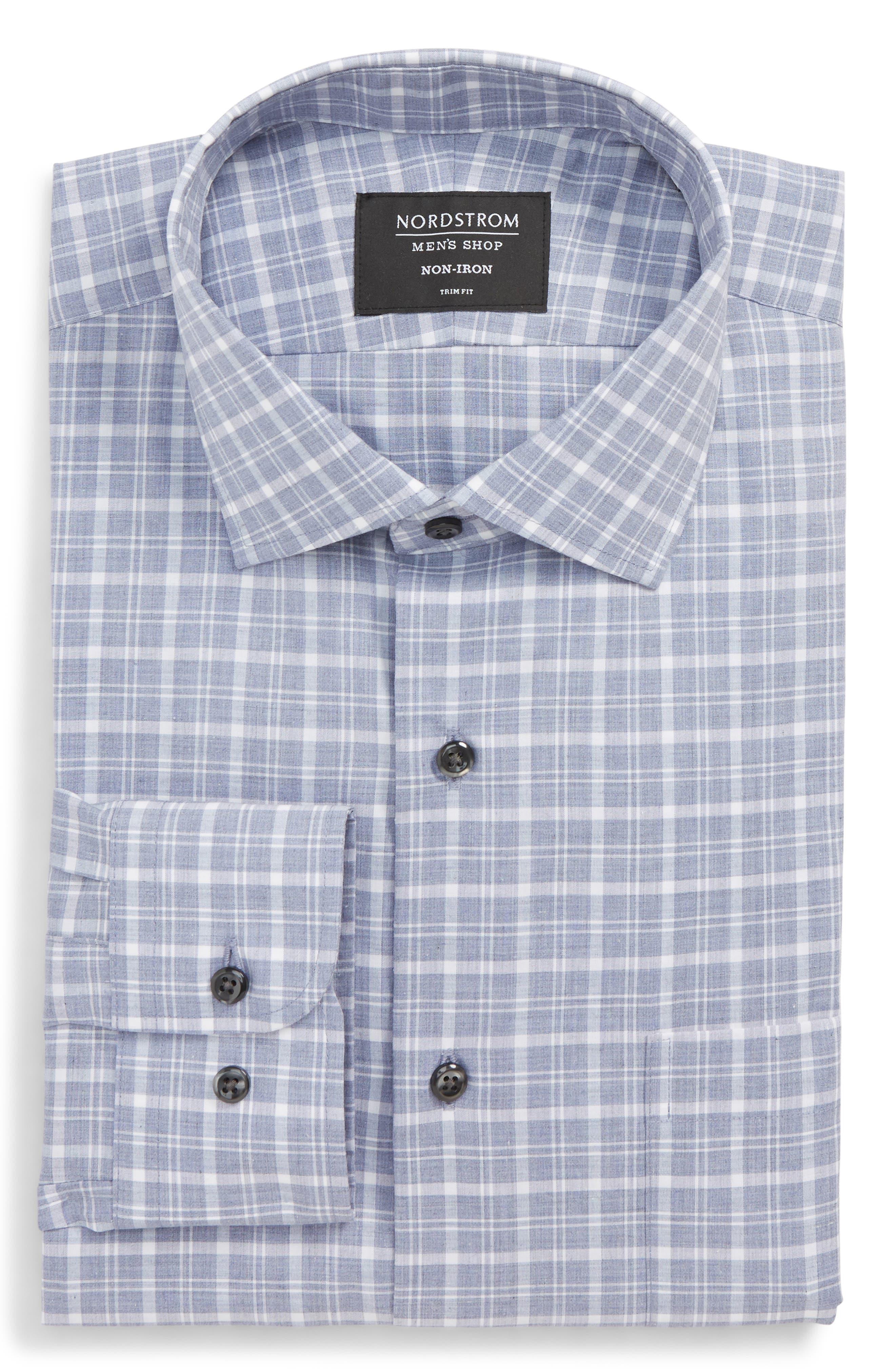Trim Fit Non-Iron Plaid Dress Shirt,                             Alternate thumbnail 5, color,                             420