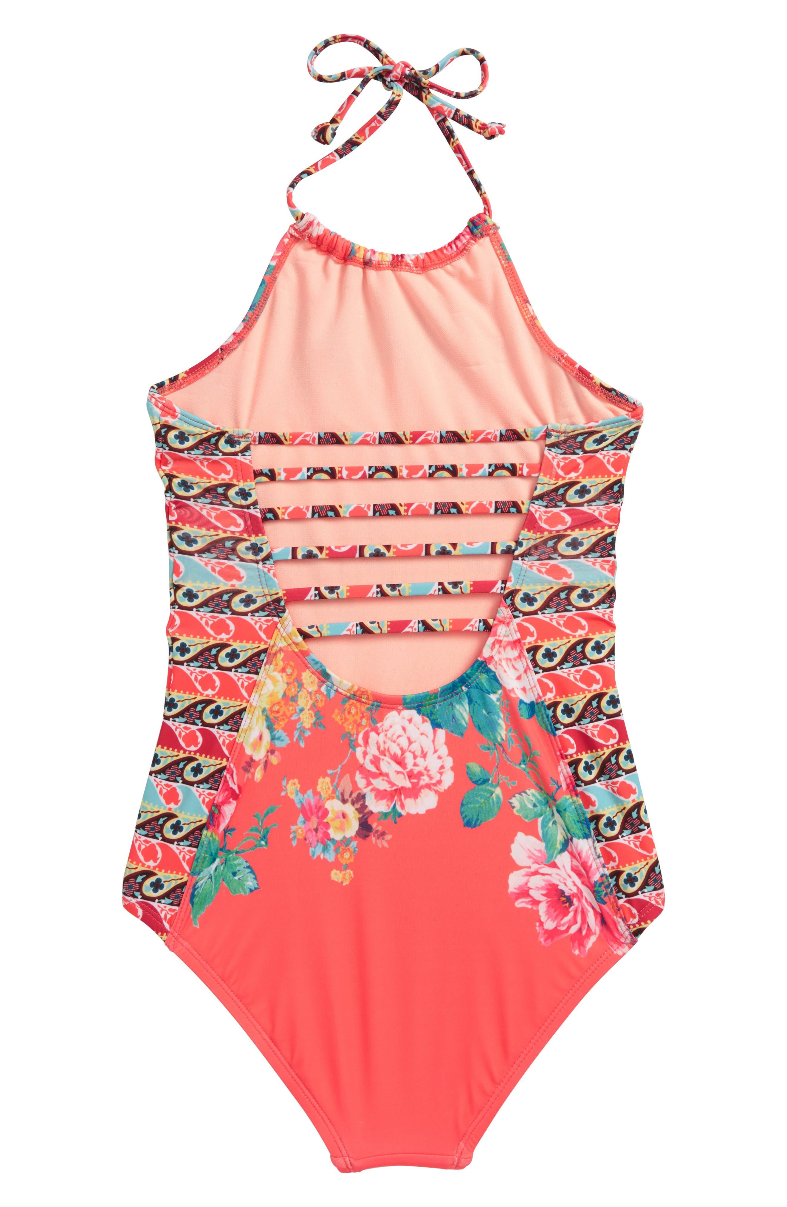 HOBIE,                             Petal Pusher One-Piece Swimsuit,                             Alternate thumbnail 3, color,                             830