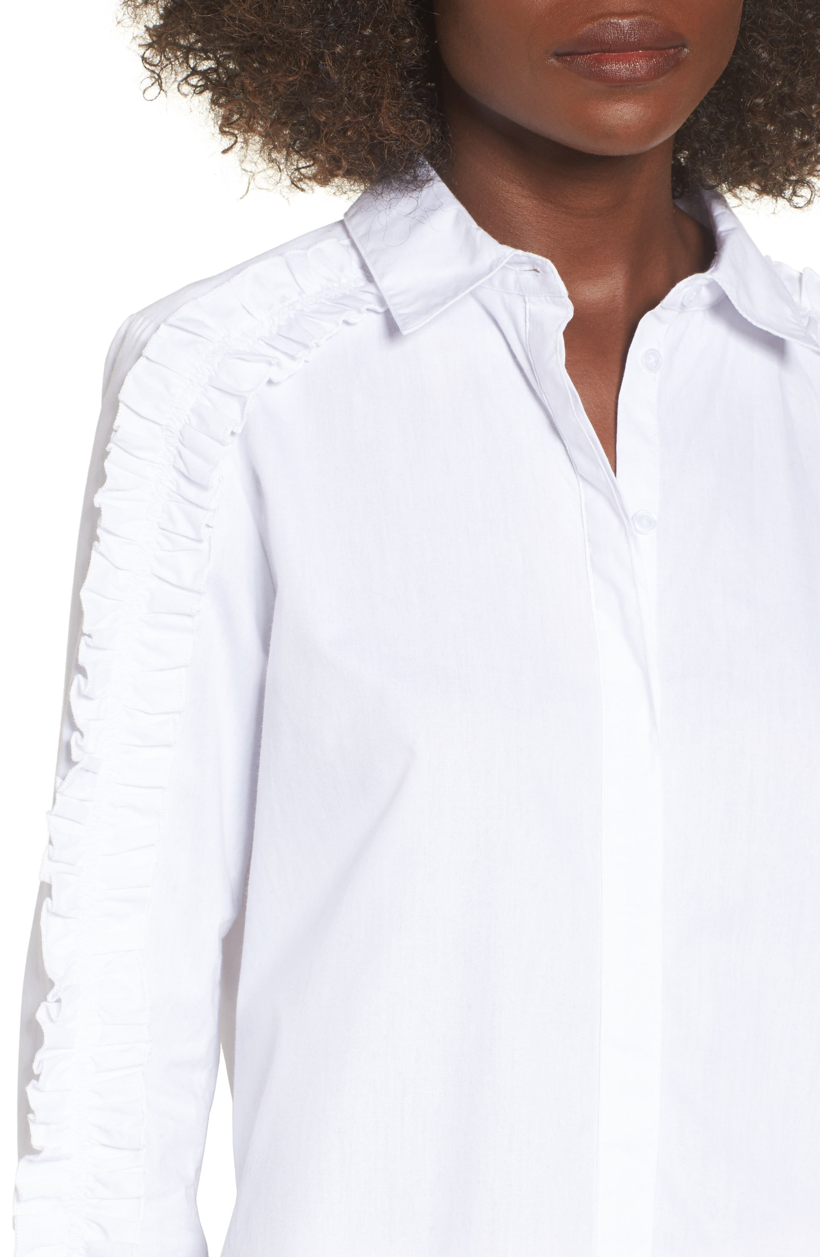 Closer Ruffle Sleeve Button Down Shirt,                             Alternate thumbnail 4, color,                             100