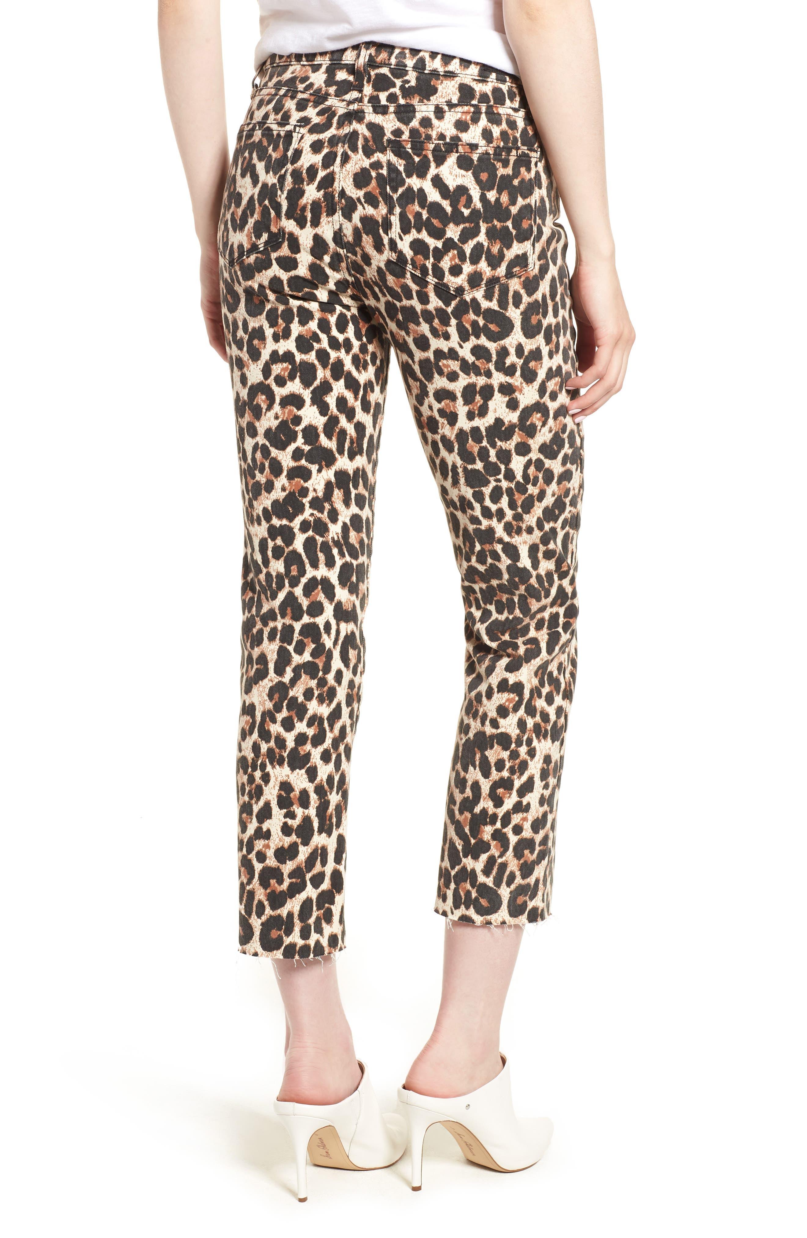 Hoxton High Waist Ankle Straight Leg Jeans,                             Alternate thumbnail 2, color,                             SAHARA LEOPARD