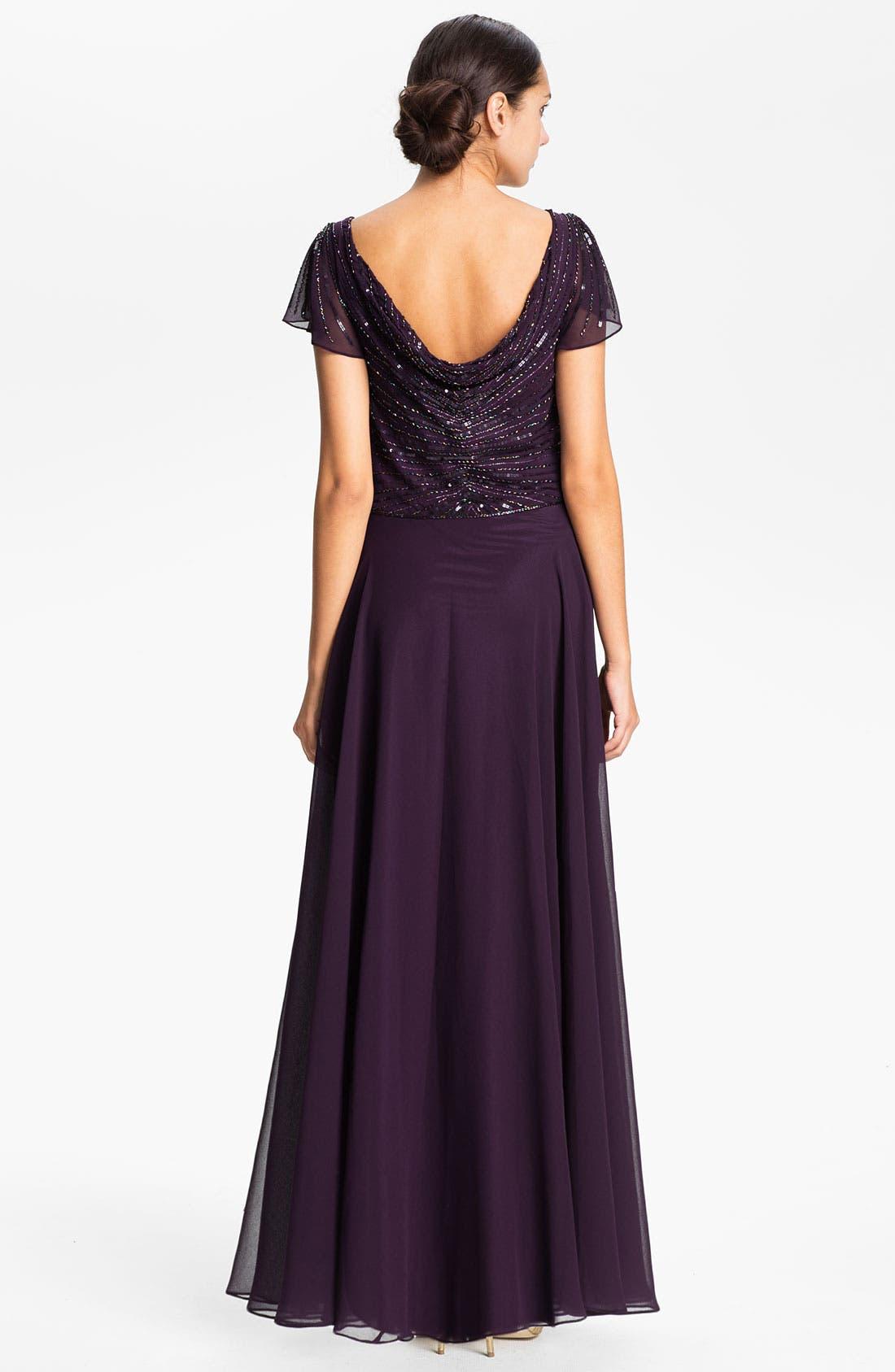Embellished Drape Bodice Chiffon Gown,                             Alternate thumbnail 2, color,                             500