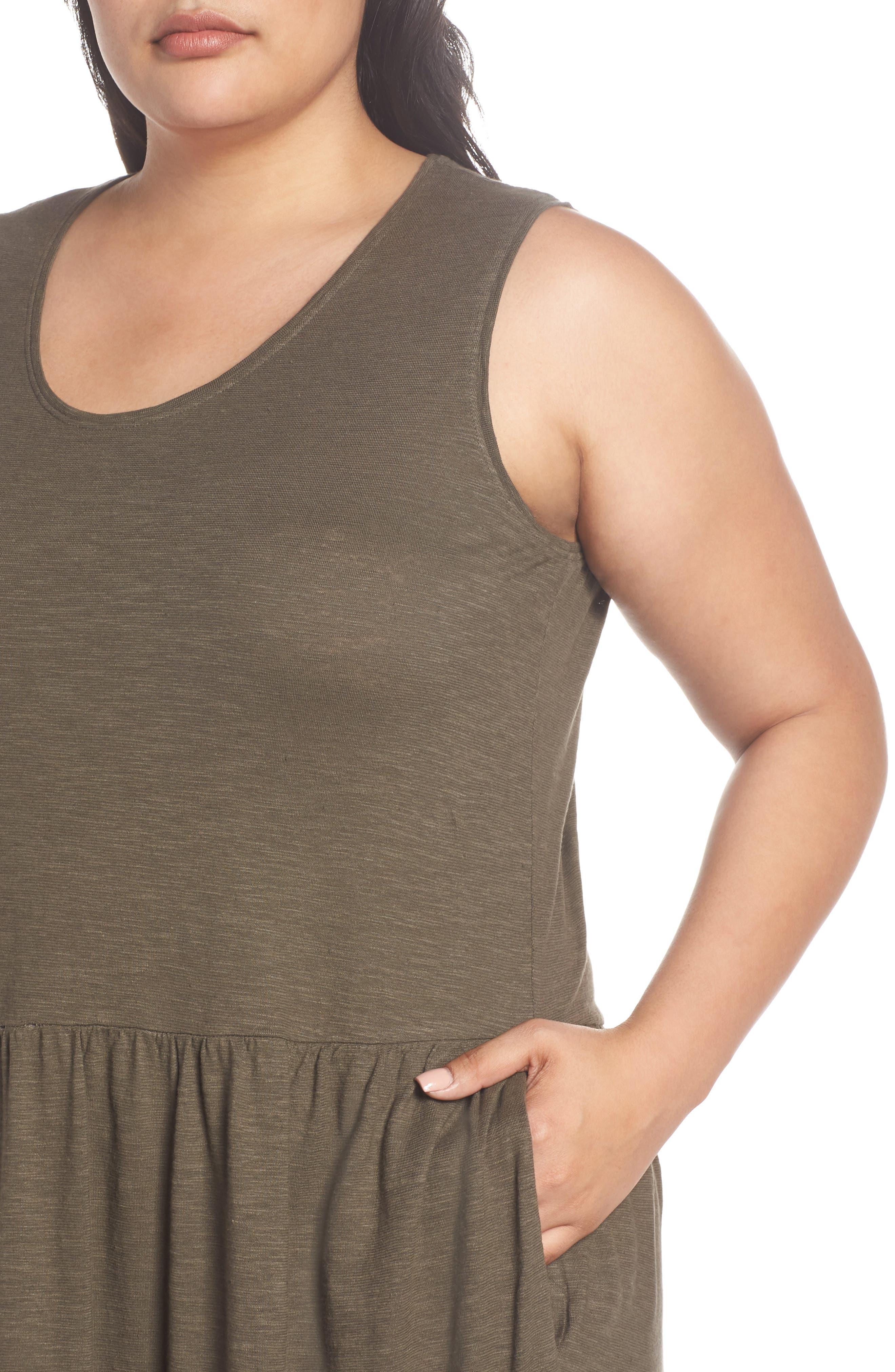Scooped Neck Hemp & Cotton Midi Dress,                             Alternate thumbnail 4, color,                             359