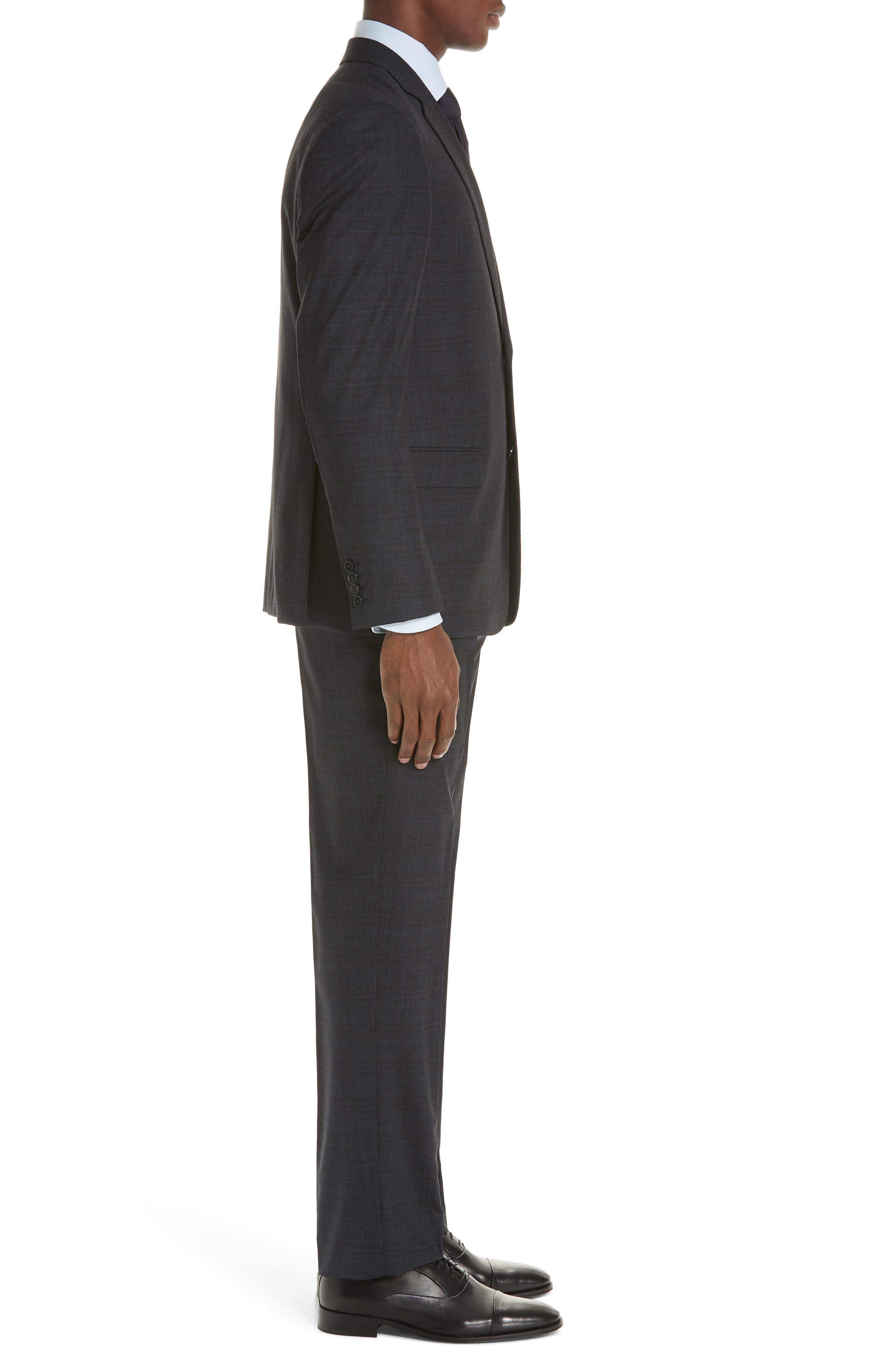 G-Line Trim Fit Stretch Plaid Wool Suit,                             Alternate thumbnail 3, color,                             NAVY/ BROWN
