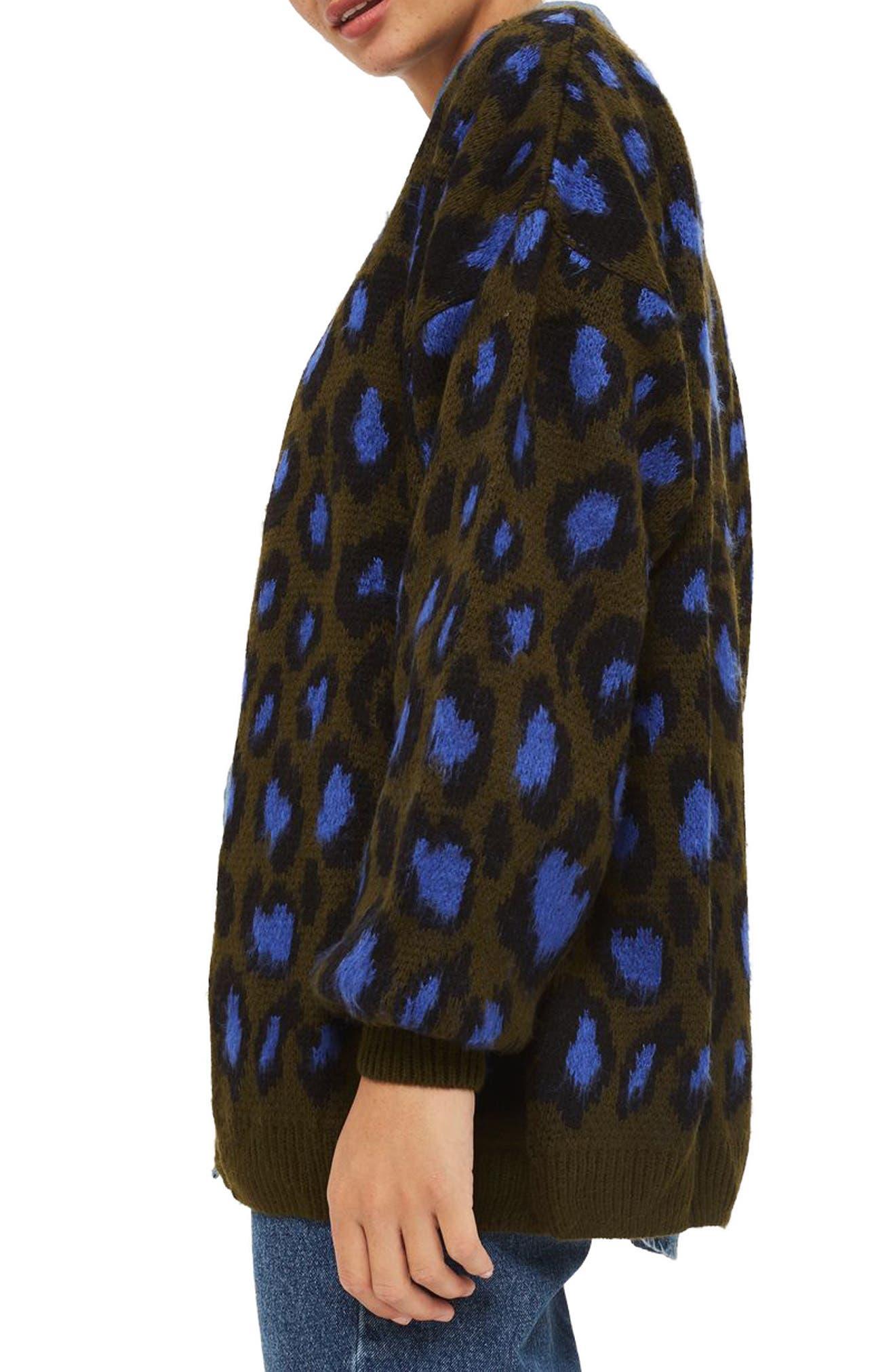 Leopard Print Cardigan,                             Alternate thumbnail 6, color,