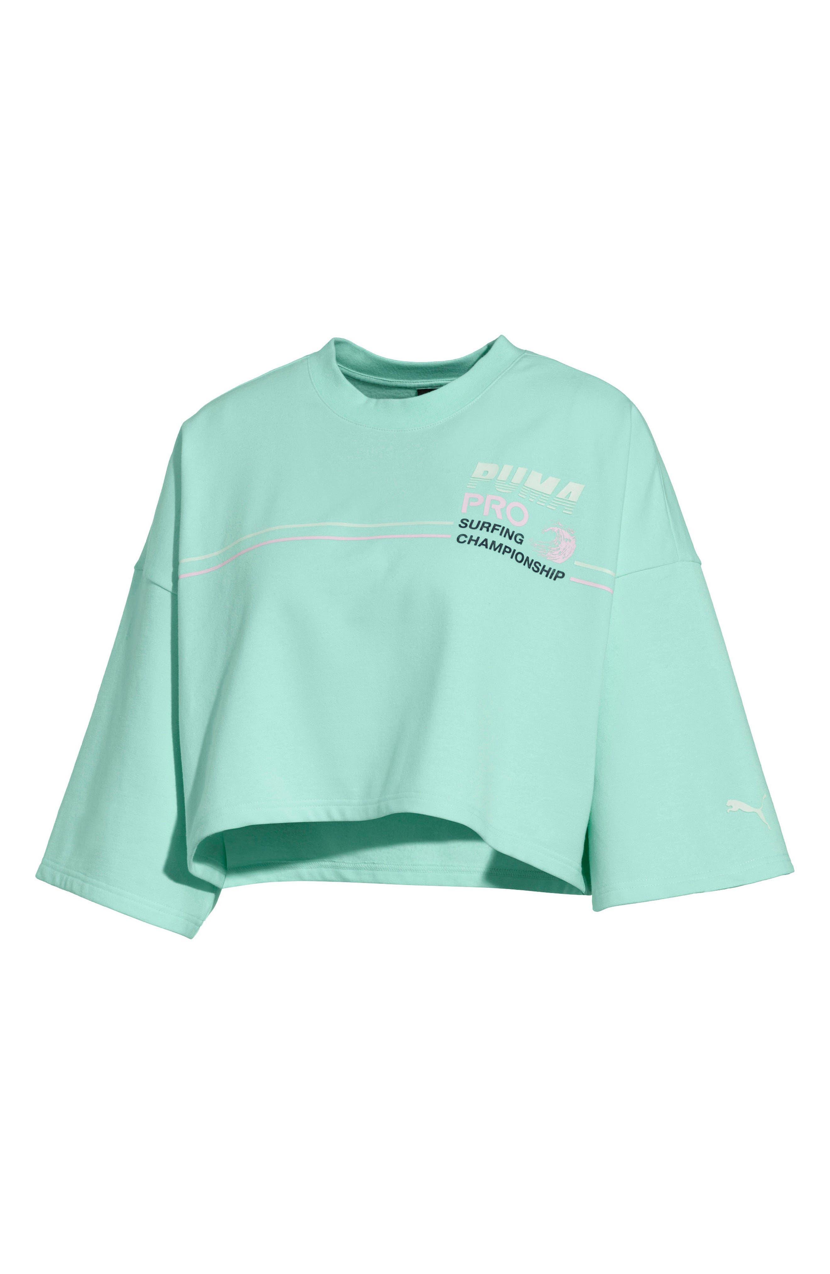 PUMA by Rihanna Graphic Short Sleeve Crop Sweatshirt,                             Main thumbnail 1, color,                             400