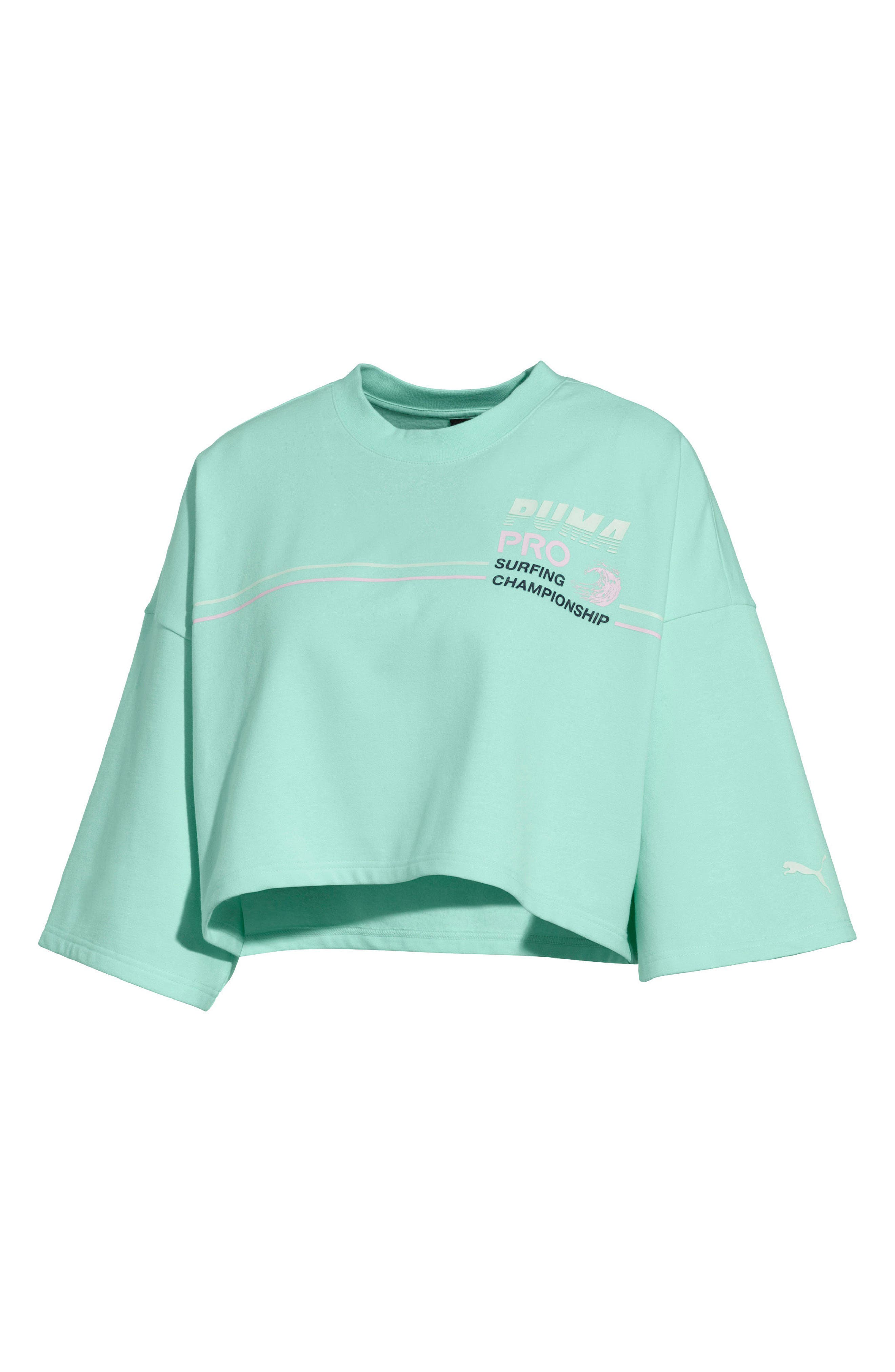 PUMA by Rihanna Graphic Short Sleeve Crop Sweatshirt,                         Main,                         color, 400
