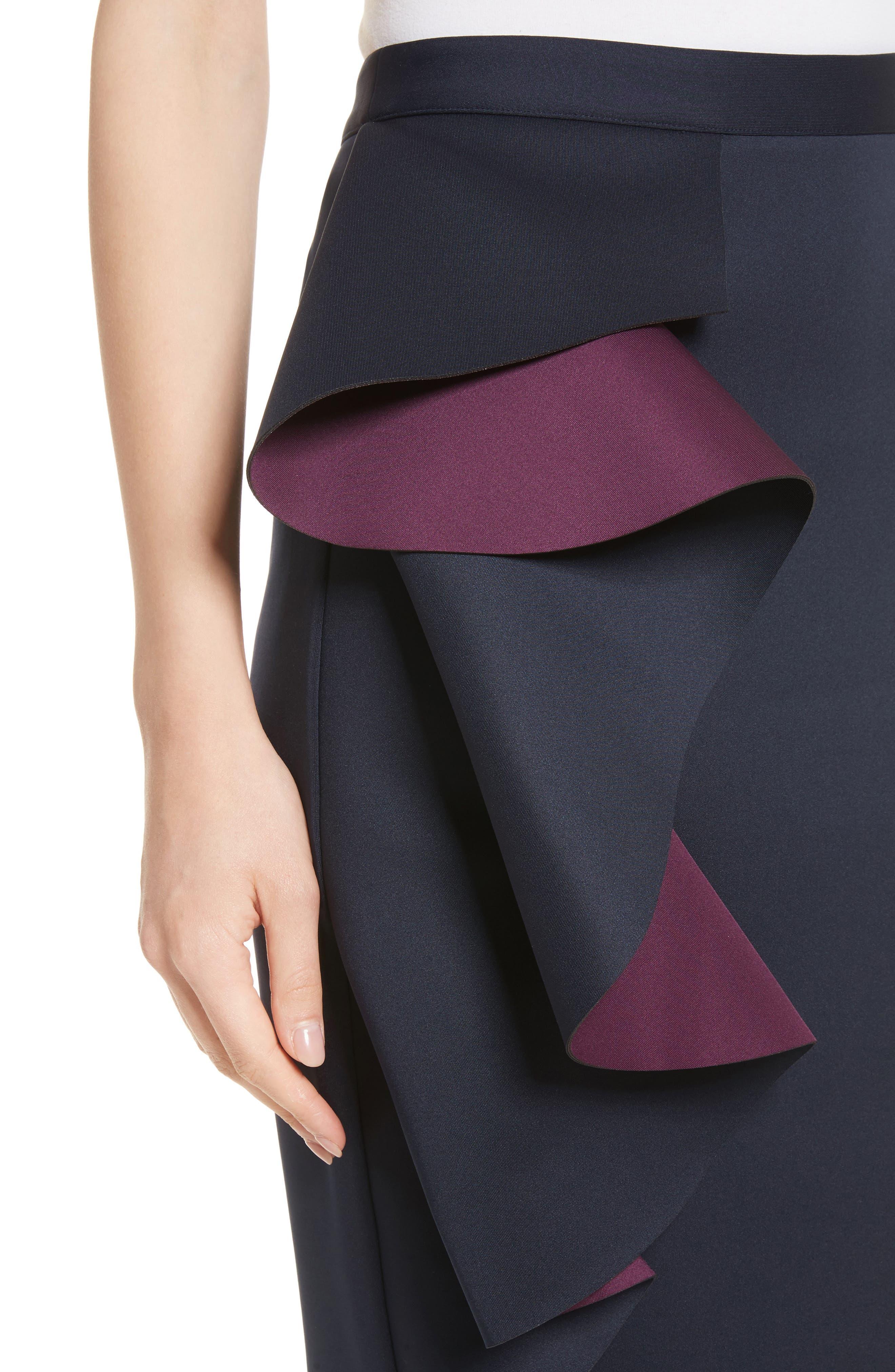 Derosa Oversize Ruffle Pencil Skirt,                             Alternate thumbnail 4, color,                             402