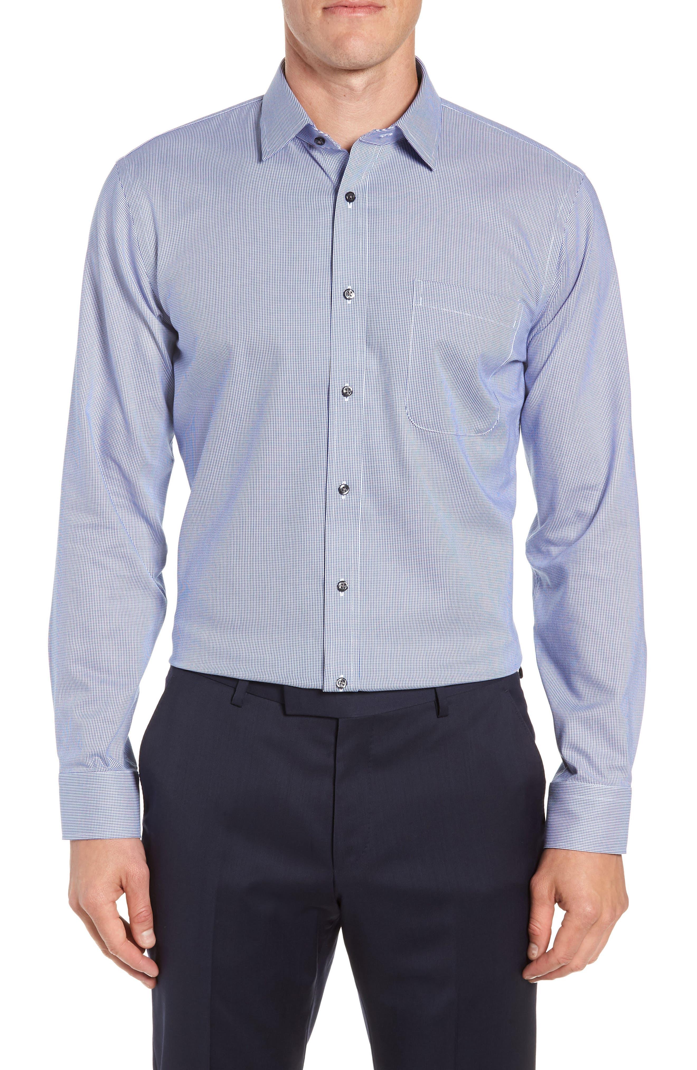 Trim Fit Non-Iron Solid Dress Shirt,                             Main thumbnail 1, color,                             NAVY DRESS